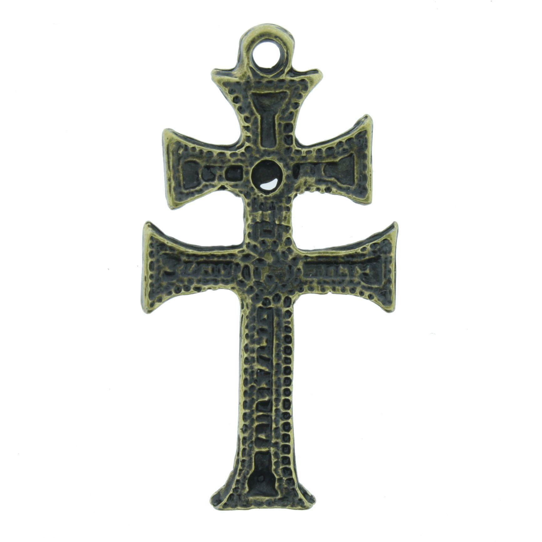 Cruz de Caravaca - Ouro Velho - 43mm  - Stéphanie Bijoux® - Peças para Bijuterias e Artesanato