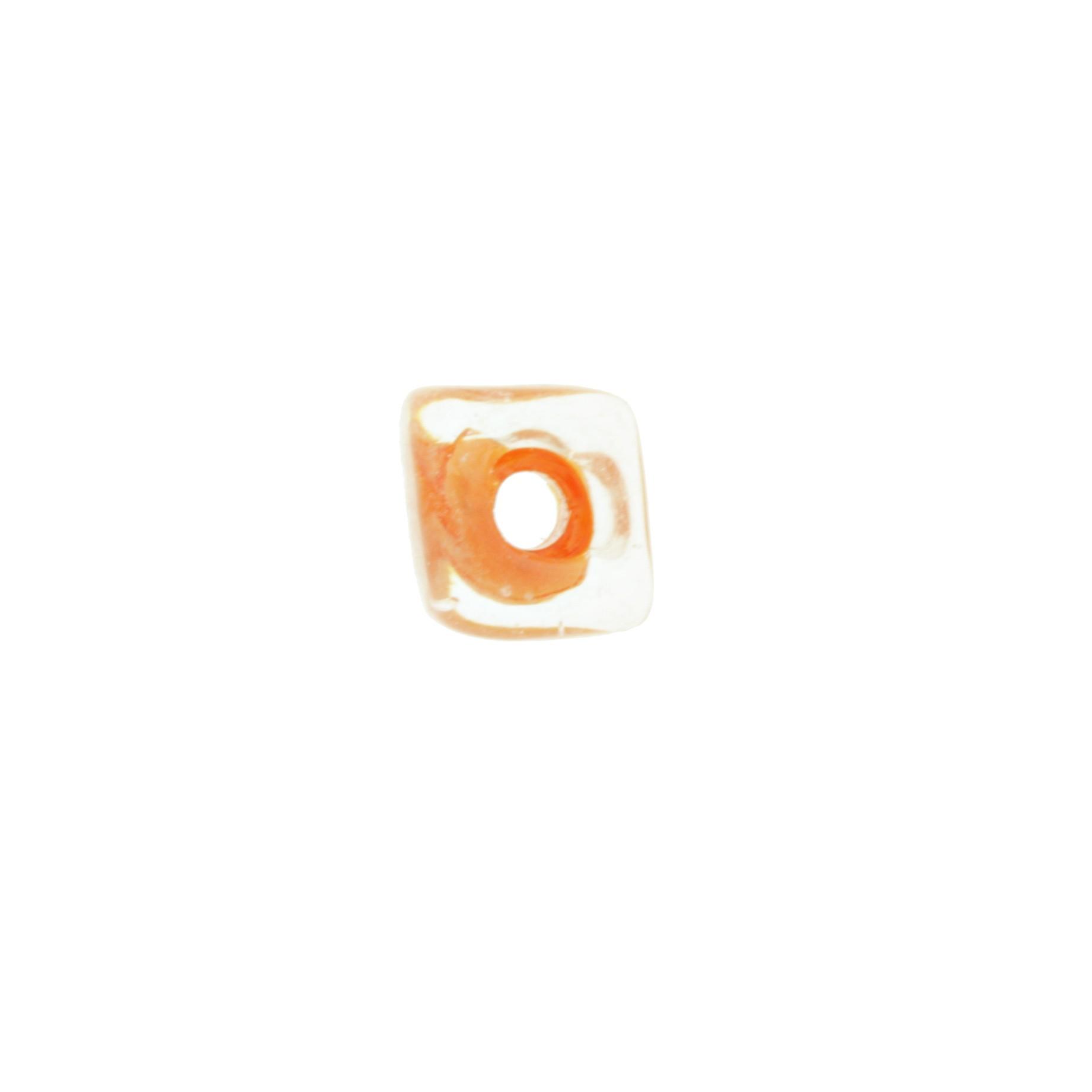 Cubo Vidro - Transparente e Laranja - Ref.: MC148  - Stéphanie Bijoux® - Peças para Bijuterias e Artesanato