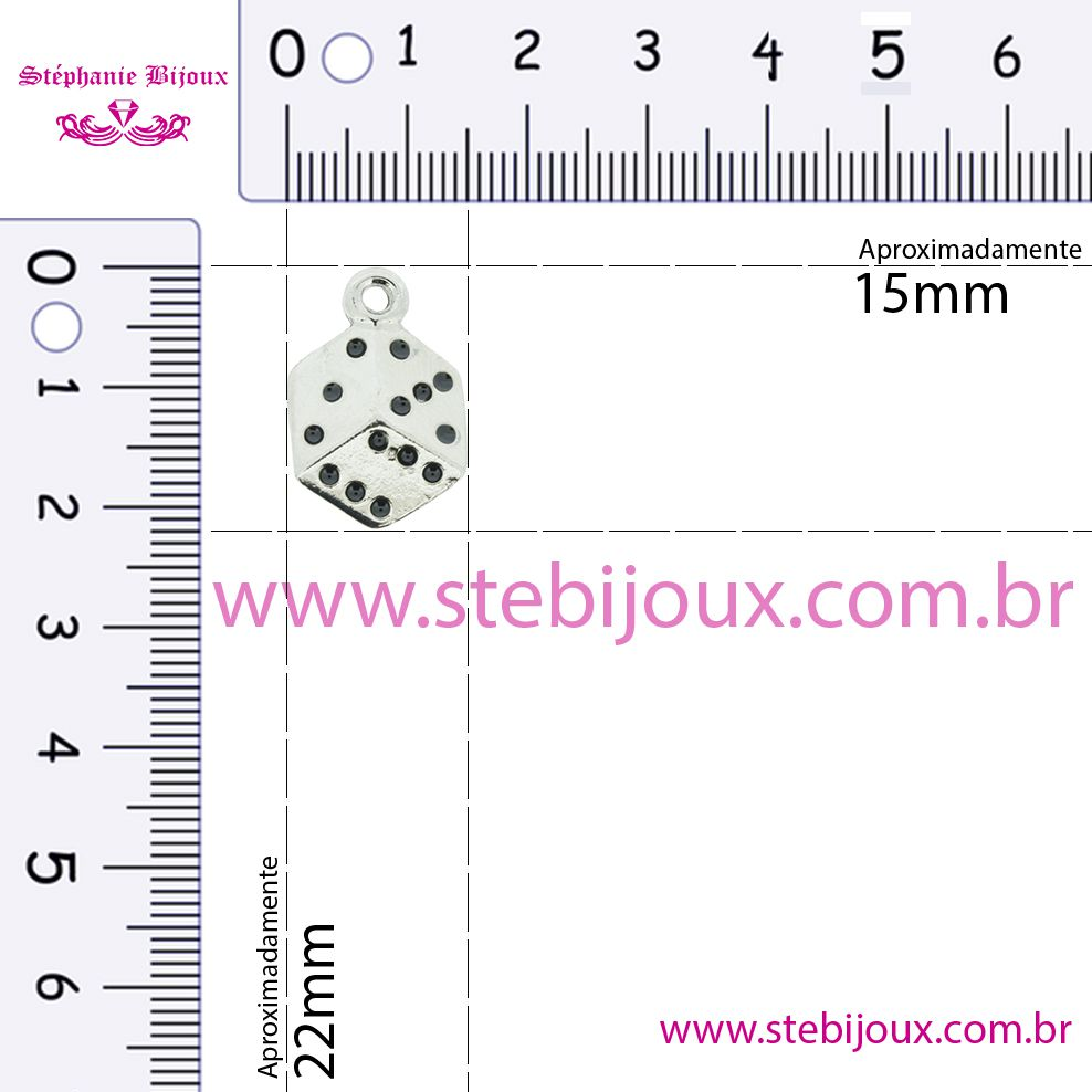 Dado - Níquel com Resina Vermelha - 22mm  - Stéphanie Bijoux® - Peças para Bijuterias e Artesanato