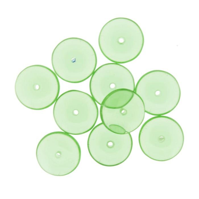 Disco Vidro - Verde Transparente - Ref.: MD600  - Stéphanie Bijoux® - Peças para Bijuterias e Artesanato