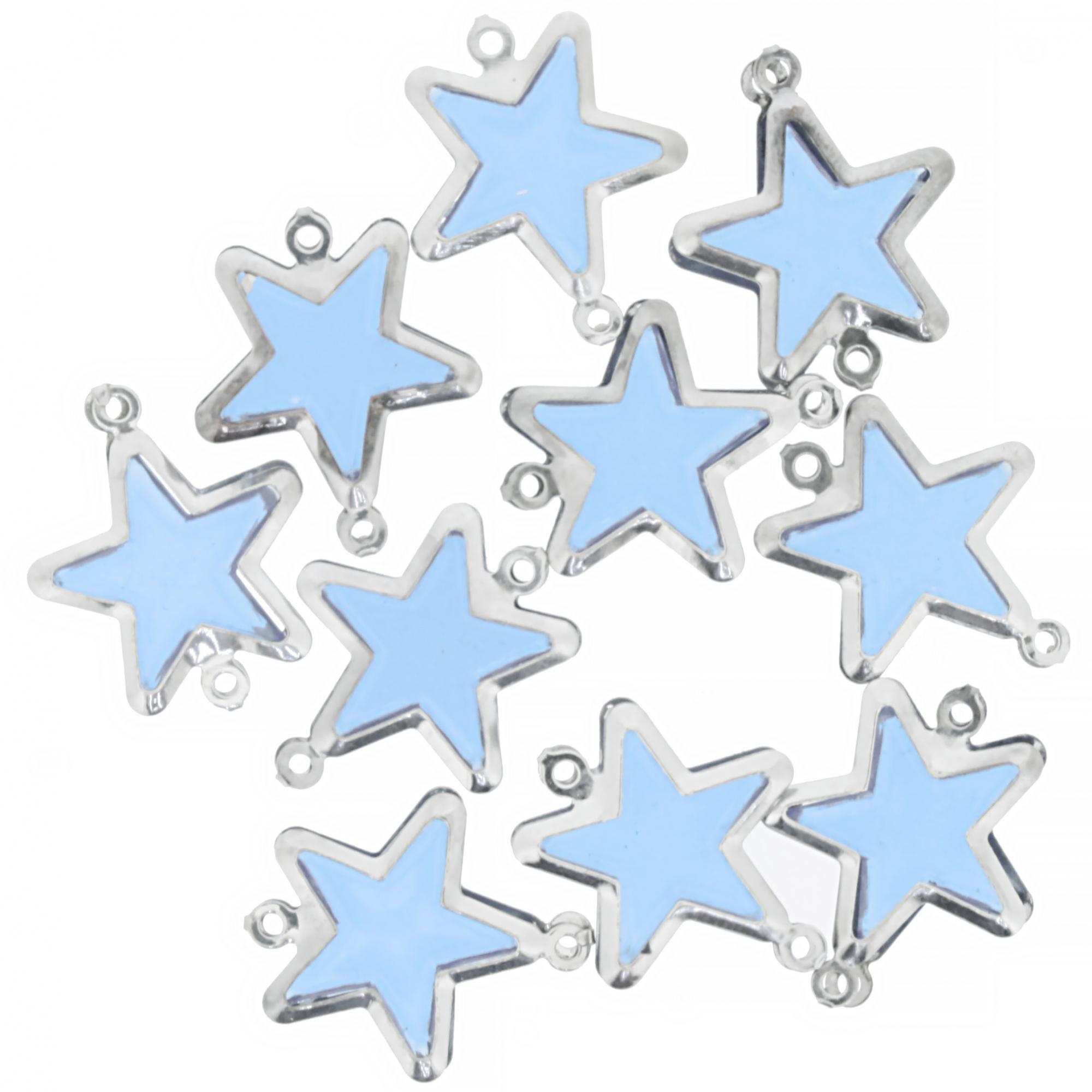 Entremeio Metal - Estrela Azul - 19mm  - Stéphanie Bijoux® - Peças para Bijuterias e Artesanato