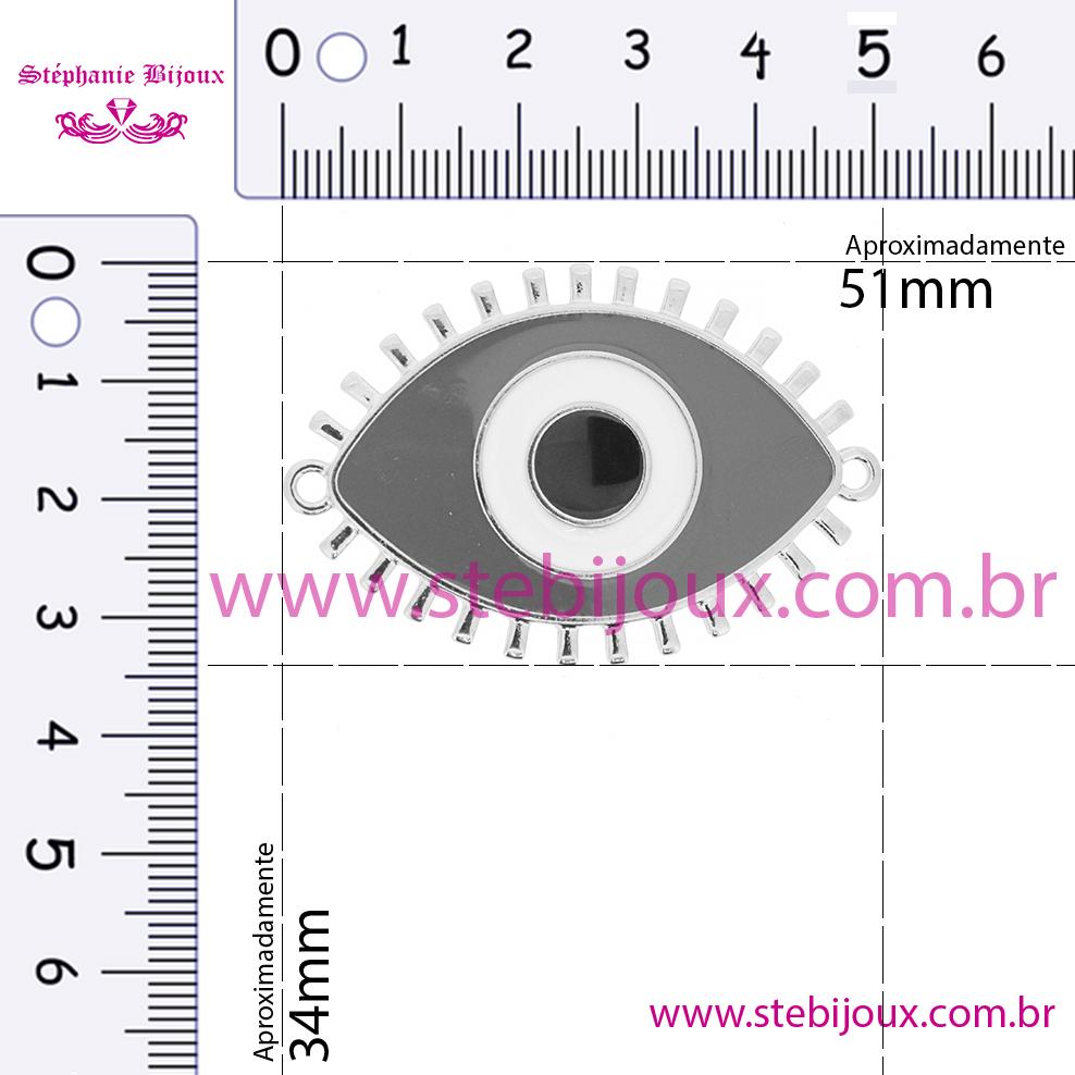 Entremeio Olho - Níquel e Resina - Azul  - Stéphanie Bijoux® - Peças para Bijuterias e Artesanato