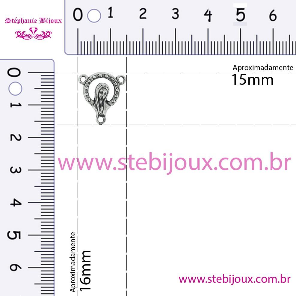 Entremeio Terço Madonna - Níquel Velho - 16mm  - Stéphanie Bijoux® - Peças para Bijuterias e Artesanato
