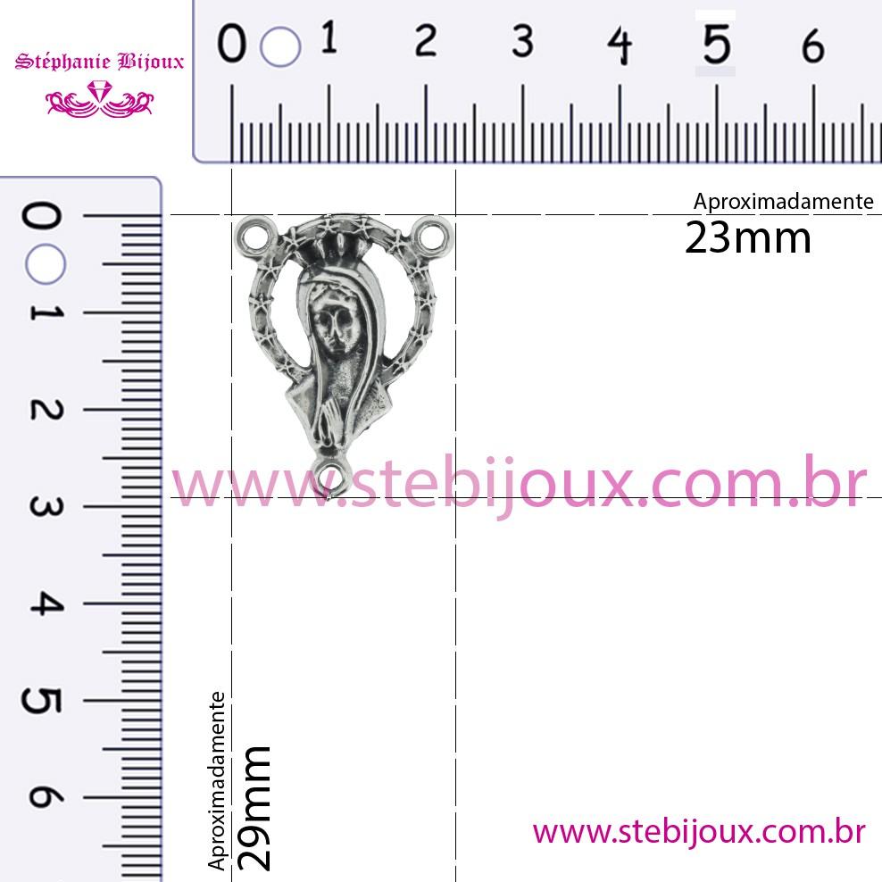 Entremeio Terço Madonna - Níquel Velho - 29mm  - Stéphanie Bijoux® - Peças para Bijuterias e Artesanato