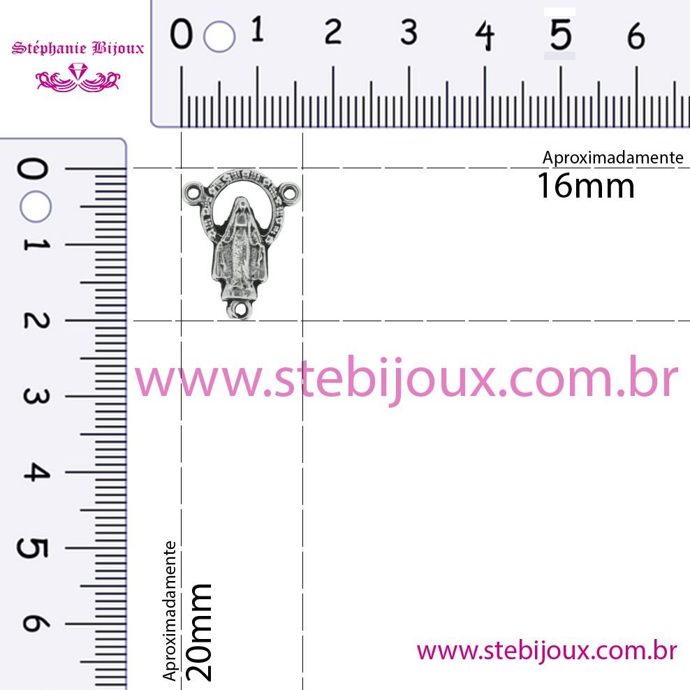 Entremeio Terço Nsa. das Graças - Níquel Velho - 20mm  - Stéphanie Bijoux® - Peças para Bijuterias e Artesanato