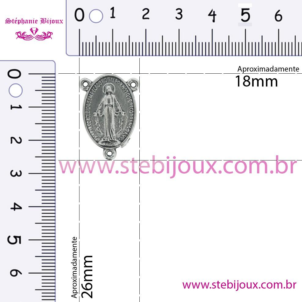 Entremeio Terço Nsa. das Graças - Níquel Velho - 26mm  - Stéphanie Bijoux® - Peças para Bijuterias e Artesanato