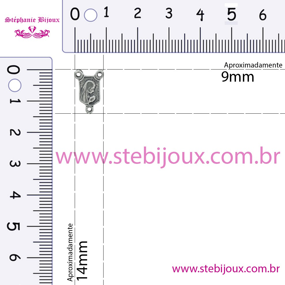 Entremeio Terço Nsa. Fátima - Níquel Velho - 14mm  - Stéphanie Bijoux® - Peças para Bijuterias e Artesanato