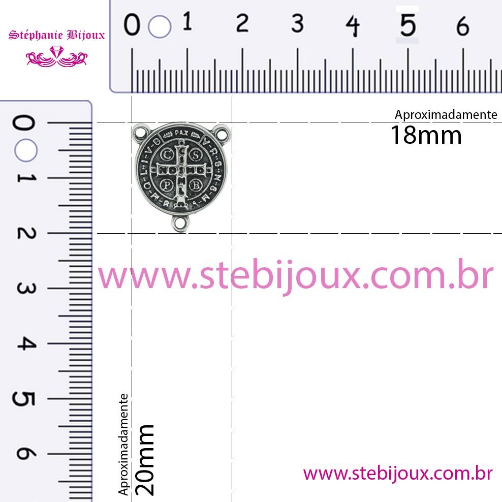 Entremeio Terço São Bento - Níquel Velho - 20mm  - Stéphanie Bijoux® - Peças para Bijuterias e Artesanato
