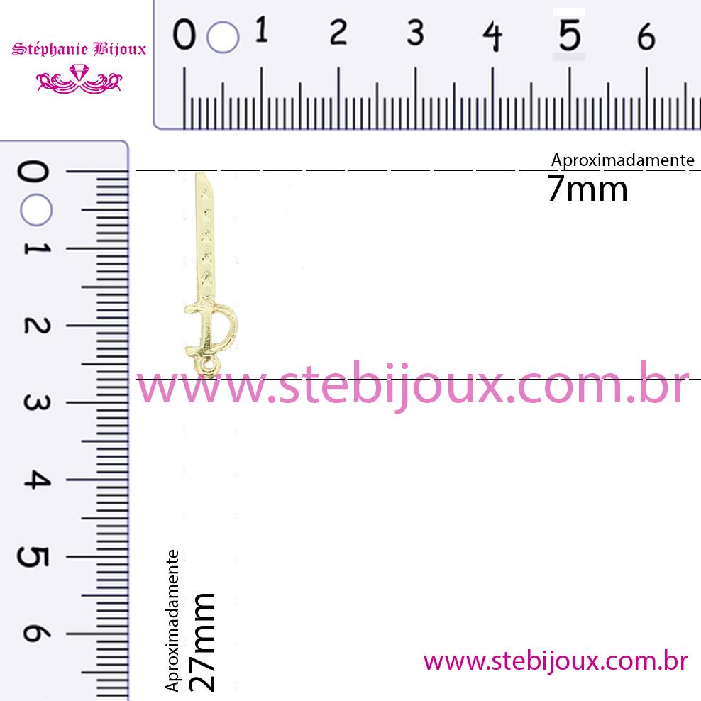 Espada Ogum - Ouro Velho - 27mm  - Stéphanie Bijoux® - Peças para Bijuterias e Artesanato