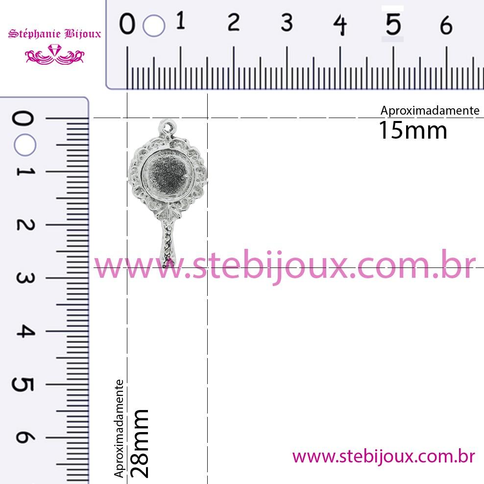 Espelho - Níquel - 28mm  - Stéphanie Bijoux® - Peças para Bijuterias e Artesanato