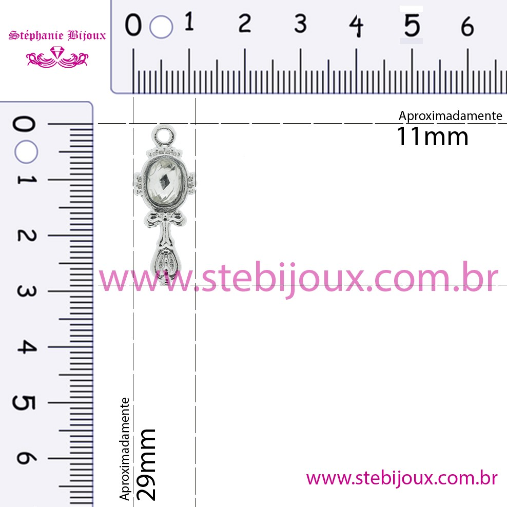 Espelho - Níquel - 29mm  - Stéphanie Bijoux® - Peças para Bijuterias e Artesanato