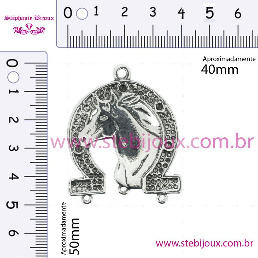 Ferradura com Cavalo - Níquel Velho - 50mm  - Stéphanie Bijoux® - Peças para Bijuterias e Artesanato