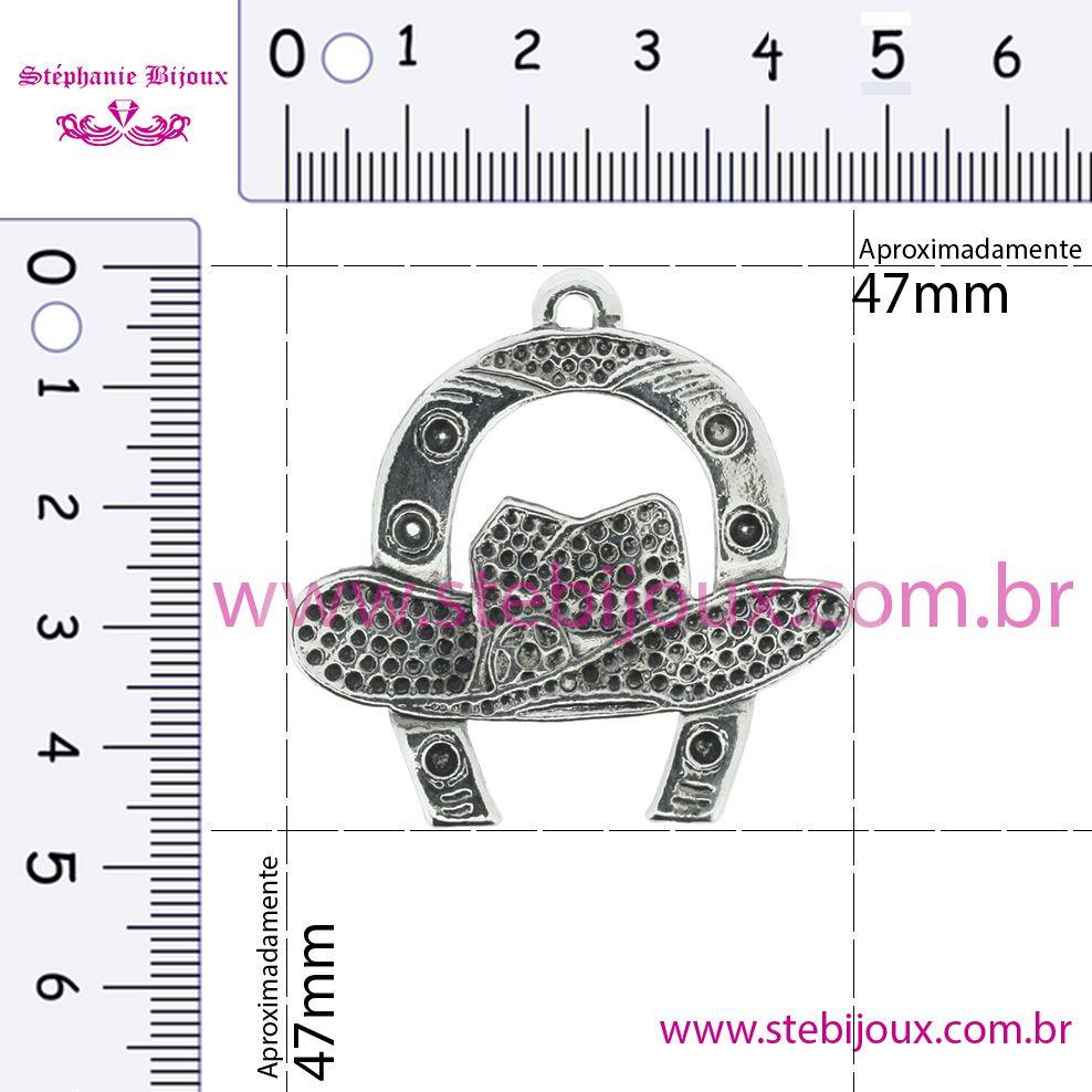 Ferradura com Chápeu - Níquel Velho - 47mm  - Stéphanie Bijoux® - Peças para Bijuterias e Artesanato