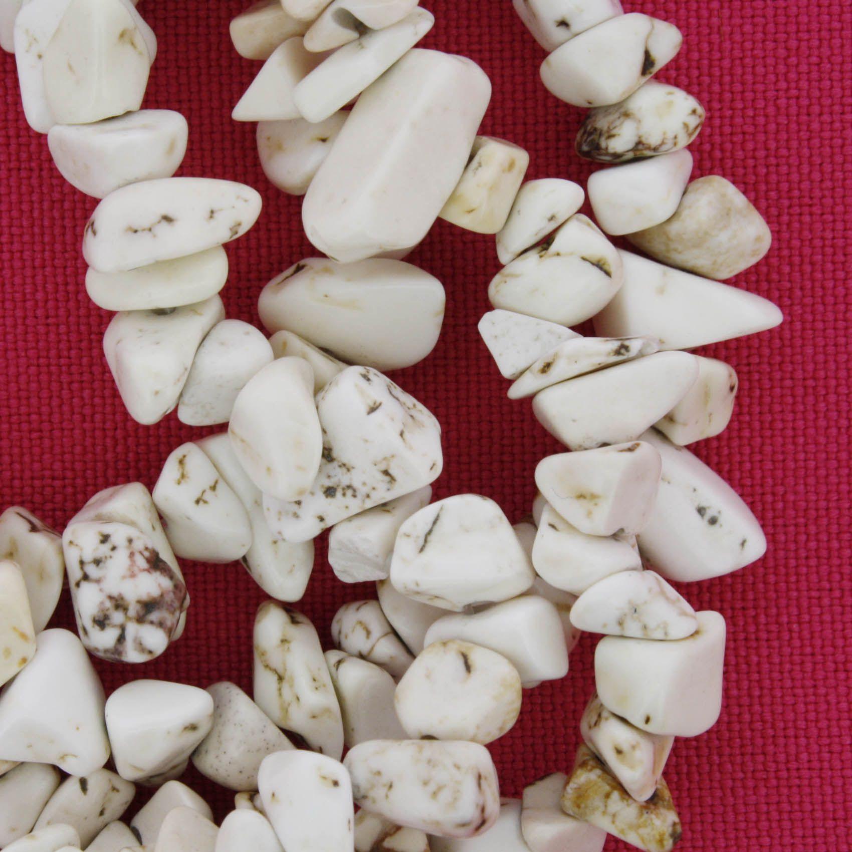 Fio de Cascalho - Stone® - Howlita Bege  - Stéphanie Bijoux® - Peças para Bijuterias e Artesanato