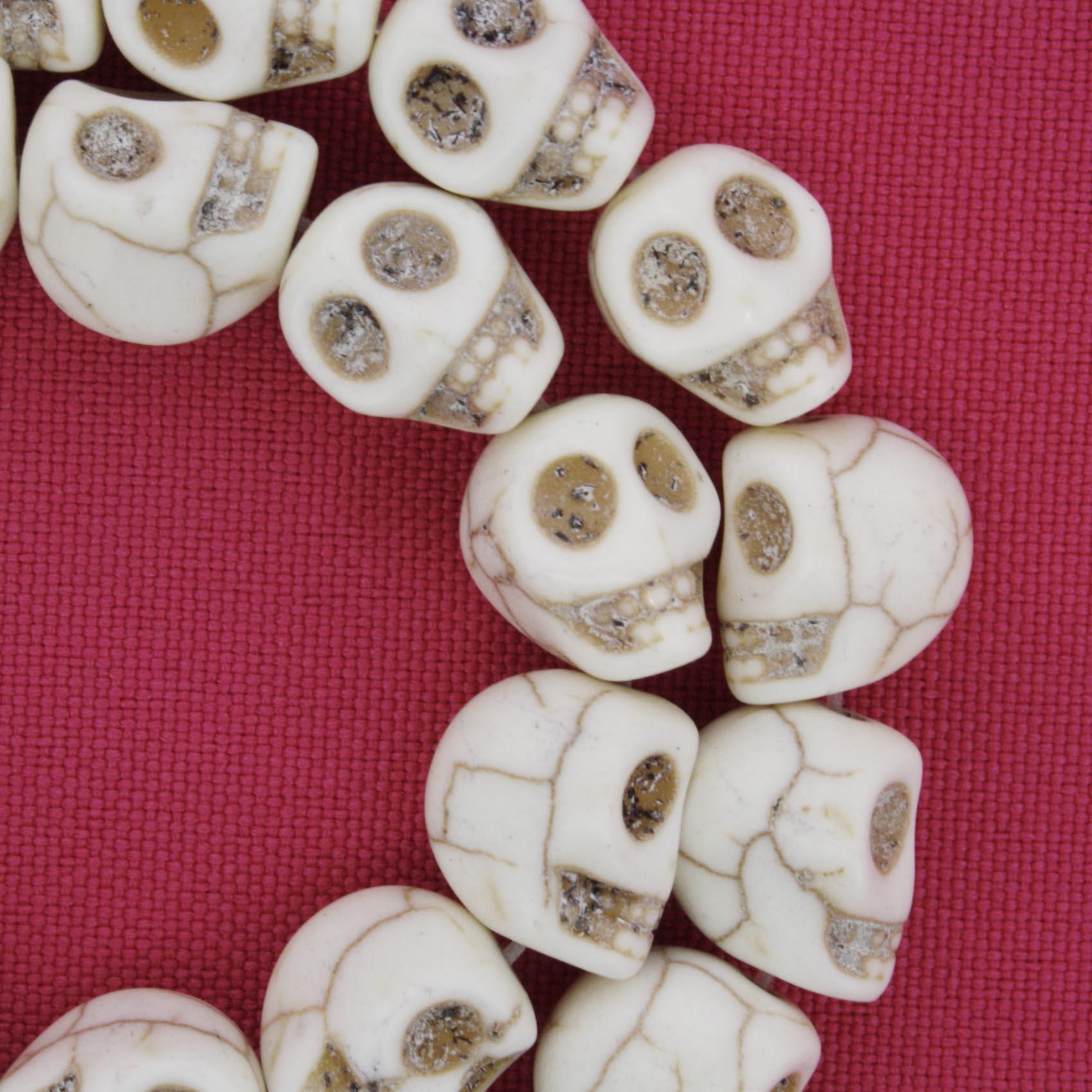 Fio de Caveira de Pedra - Branca - Pequena - 12x10mm  - Stéphanie Bijoux® - Peças para Bijuterias e Artesanato