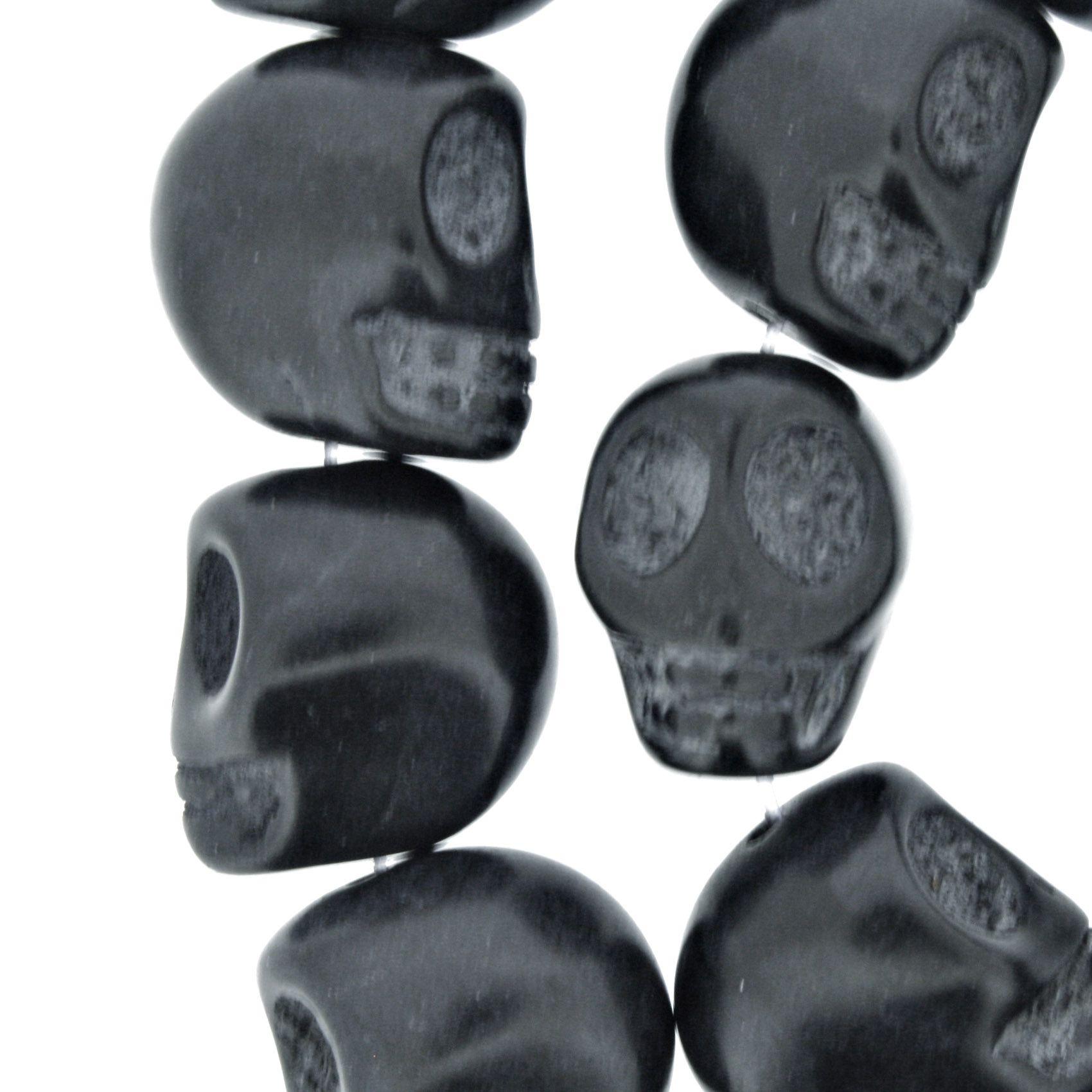 Fio de Caveira de Pedra - Preta - Média - 18x15mm  - Stéphanie Bijoux® - Peças para Bijuterias e Artesanato