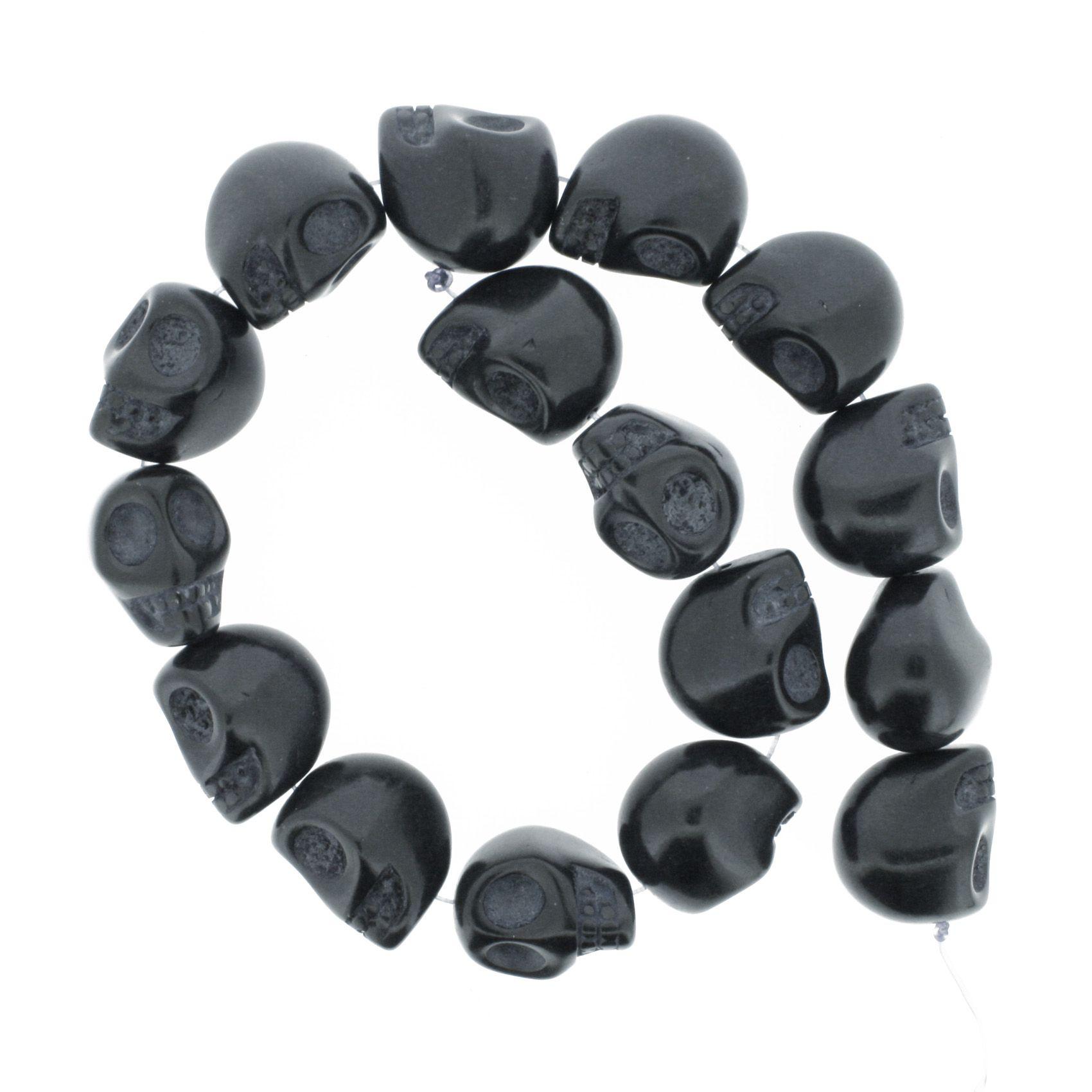 Fio de Caveira de Pedra - Preta - Grande - 22x17mm  - Stéphanie Bijoux® - Peças para Bijuterias e Artesanato