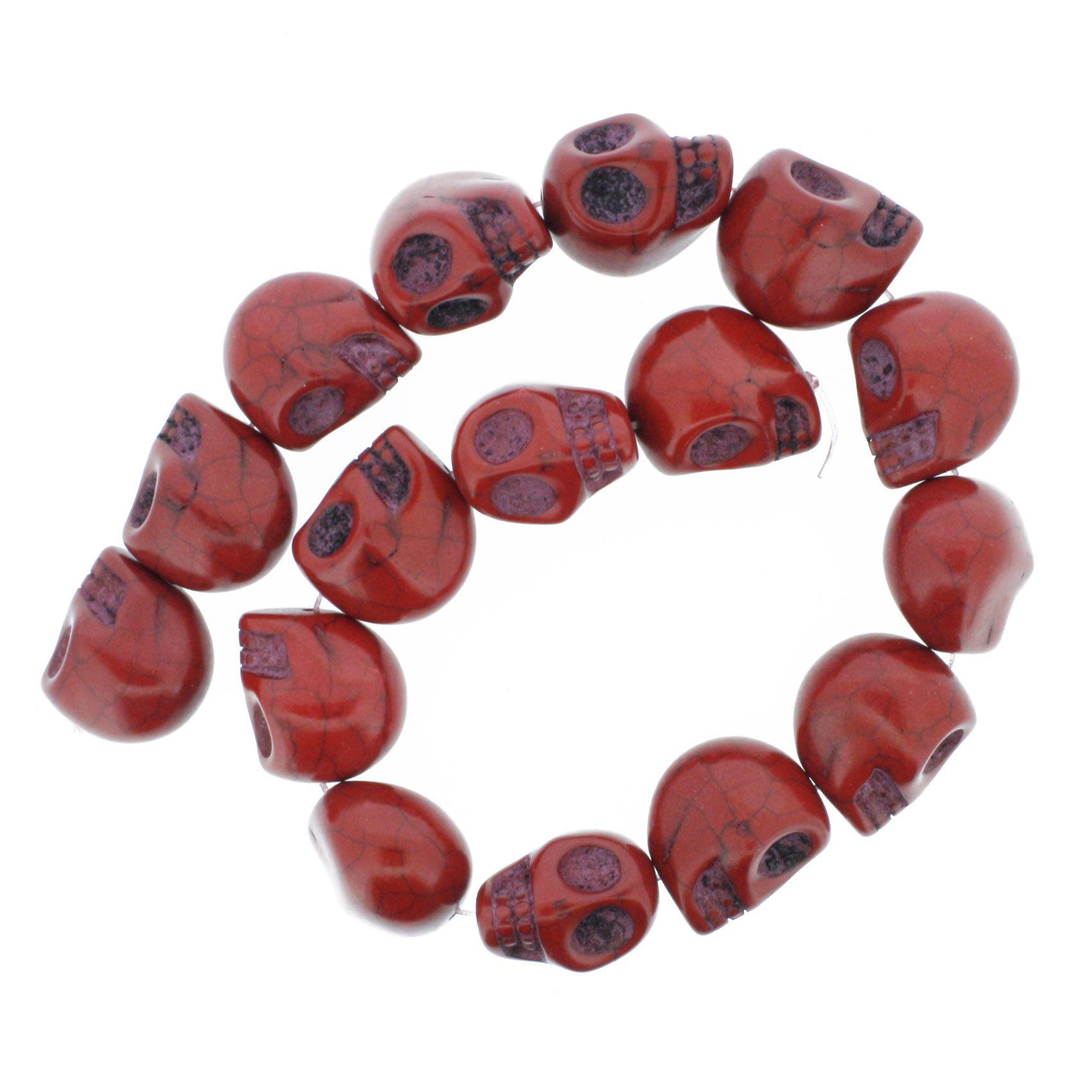 Fio de Caveira de Pedra - Vermelha - Grande - 22x17mm  - Stéphanie Bijoux® - Peças para Bijuterias e Artesanato
