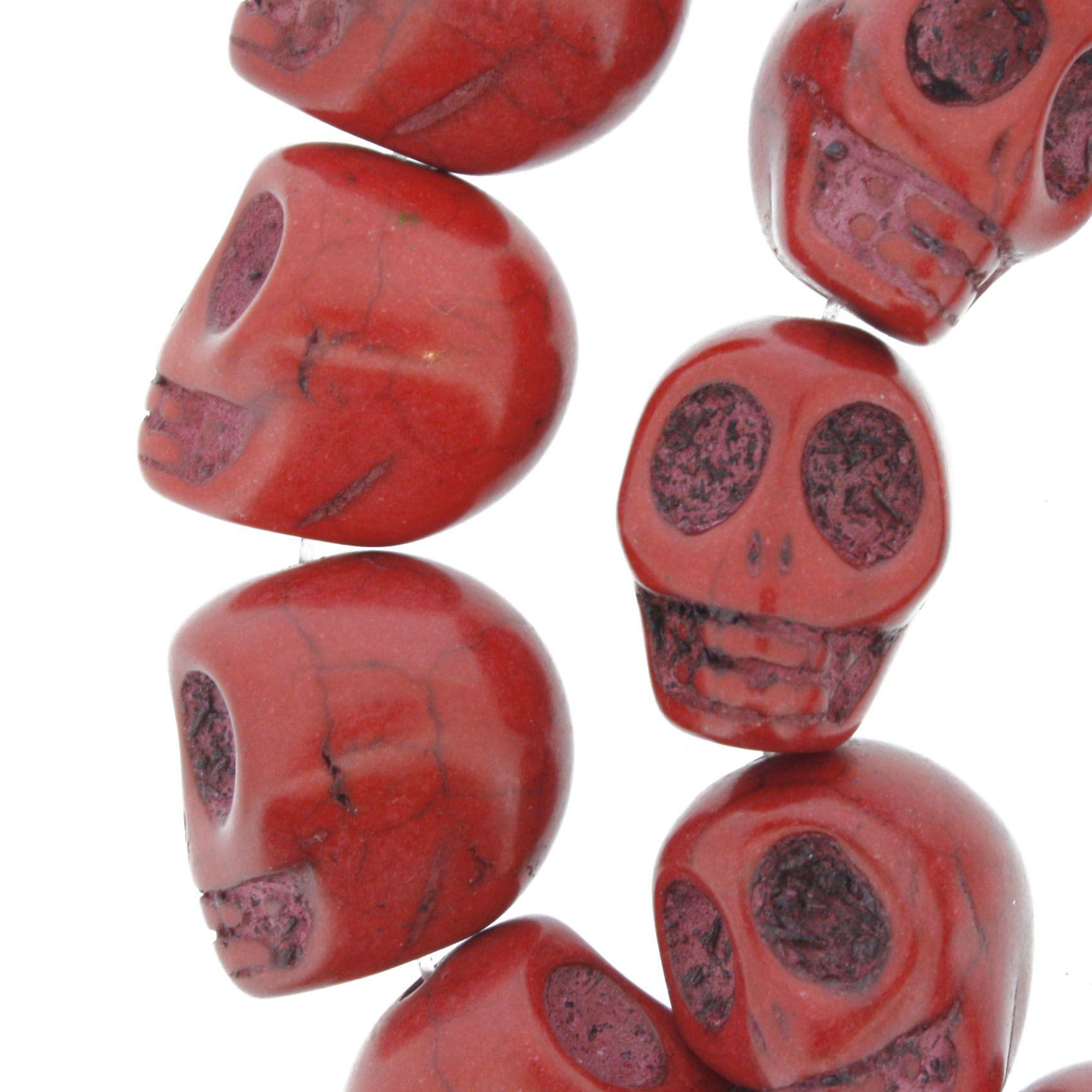 Fio de Caveira de Pedra - Vermelha - Média - 18x15mm  - Stéphanie Bijoux® - Peças para Bijuterias e Artesanato
