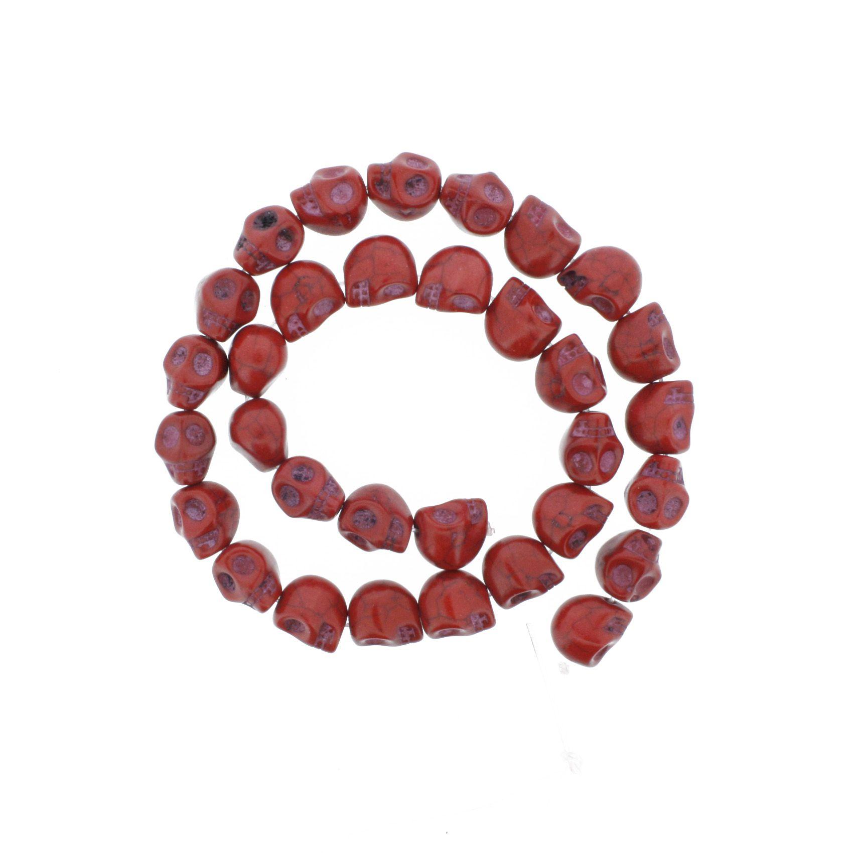 Fio de Caveira de Pedra - Vermelha - Pequena - 12x10mm  - Stéphanie Bijoux® - Peças para Bijuterias e Artesanato