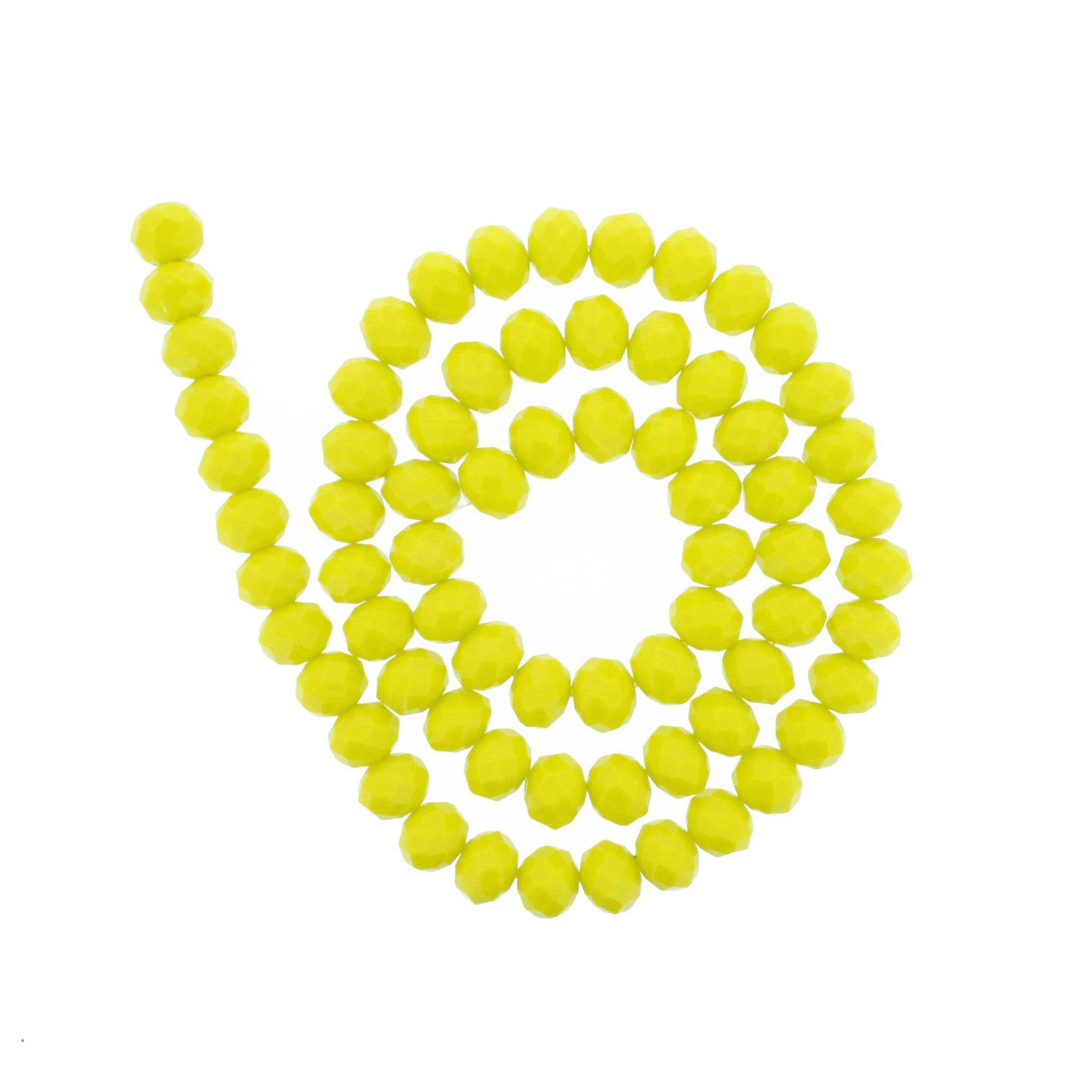 Fio de Cristal - Flat® - Amarelo - 10mm  - Stéphanie Bijoux® - Peças para Bijuterias e Artesanato