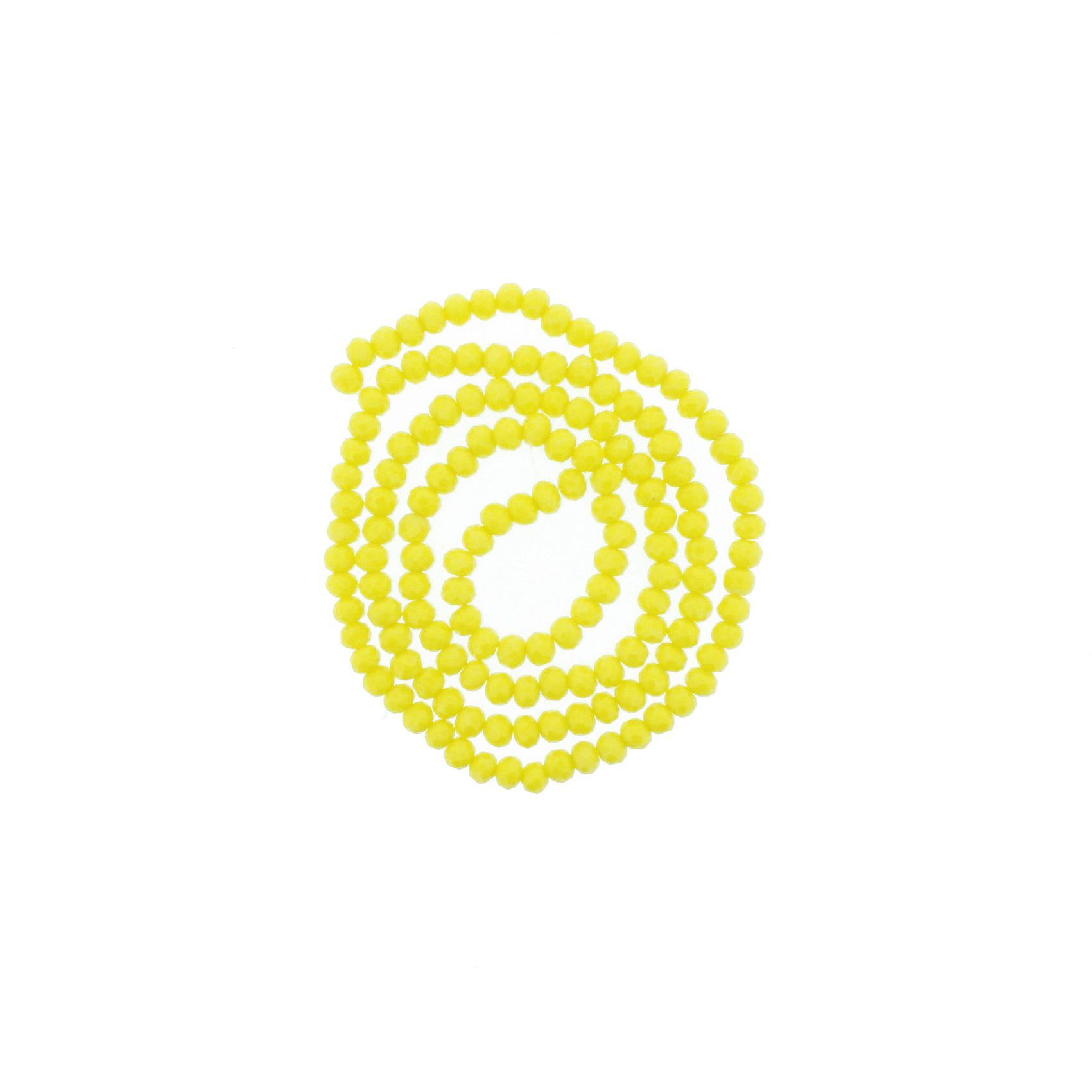 Fio de Cristal - Flat® - Amarelo - 4mm  - Stéphanie Bijoux® - Peças para Bijuterias e Artesanato