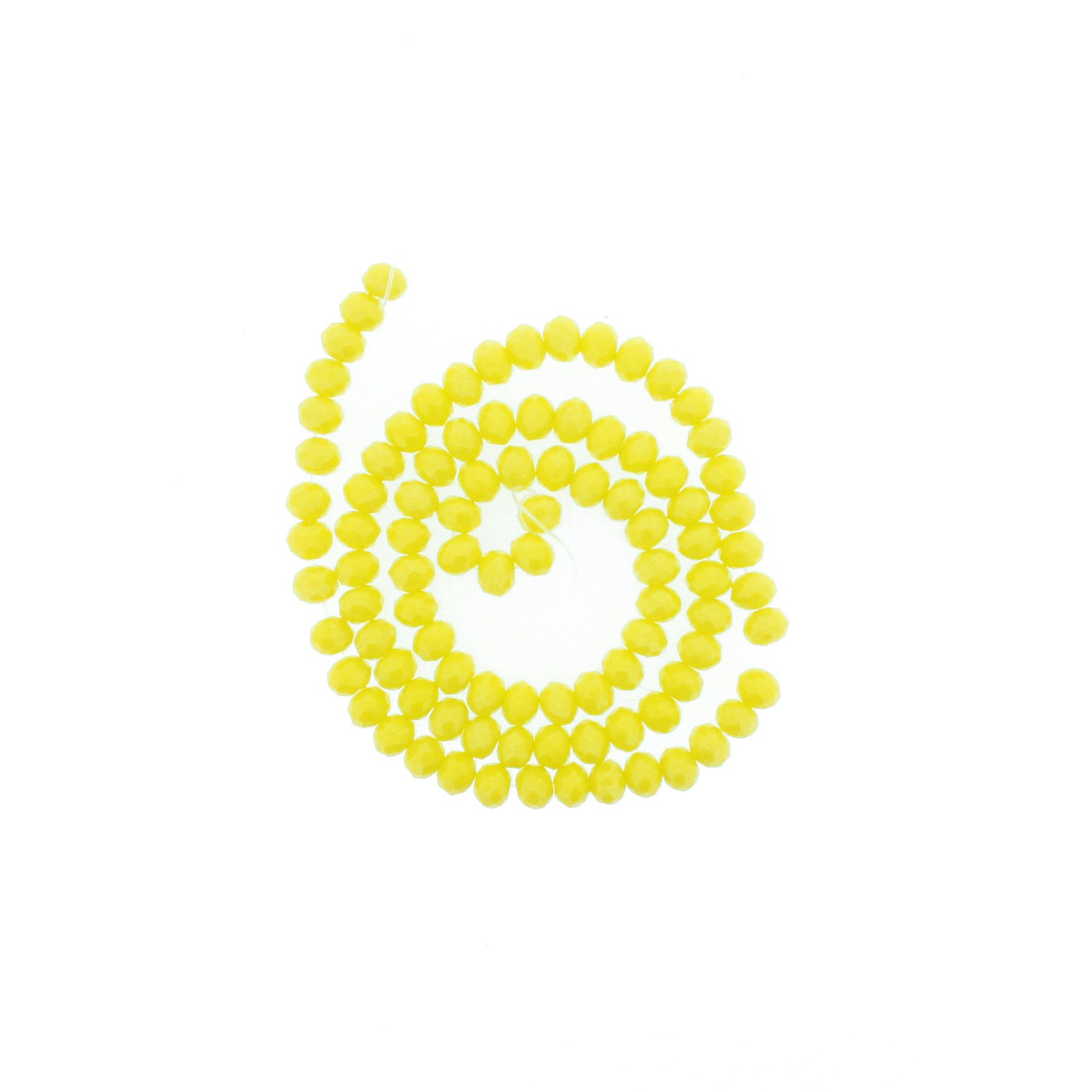 Fio de Cristal - Flat® - Amarelo - 6mm  - Stéphanie Bijoux® - Peças para Bijuterias e Artesanato