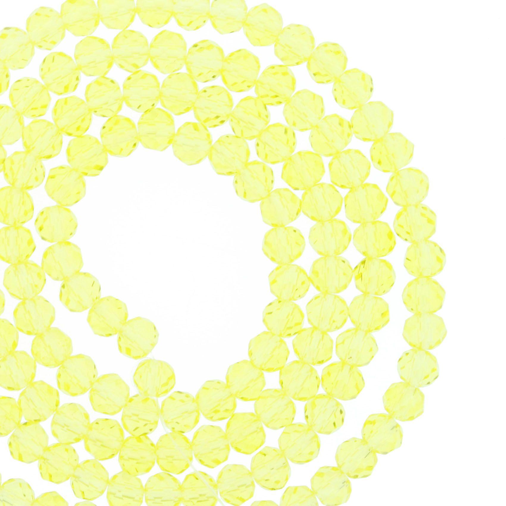 Fio de Cristal - Flat® - Amarelo Claro Transparente - 4mm  - Stéphanie Bijoux® - Peças para Bijuterias e Artesanato