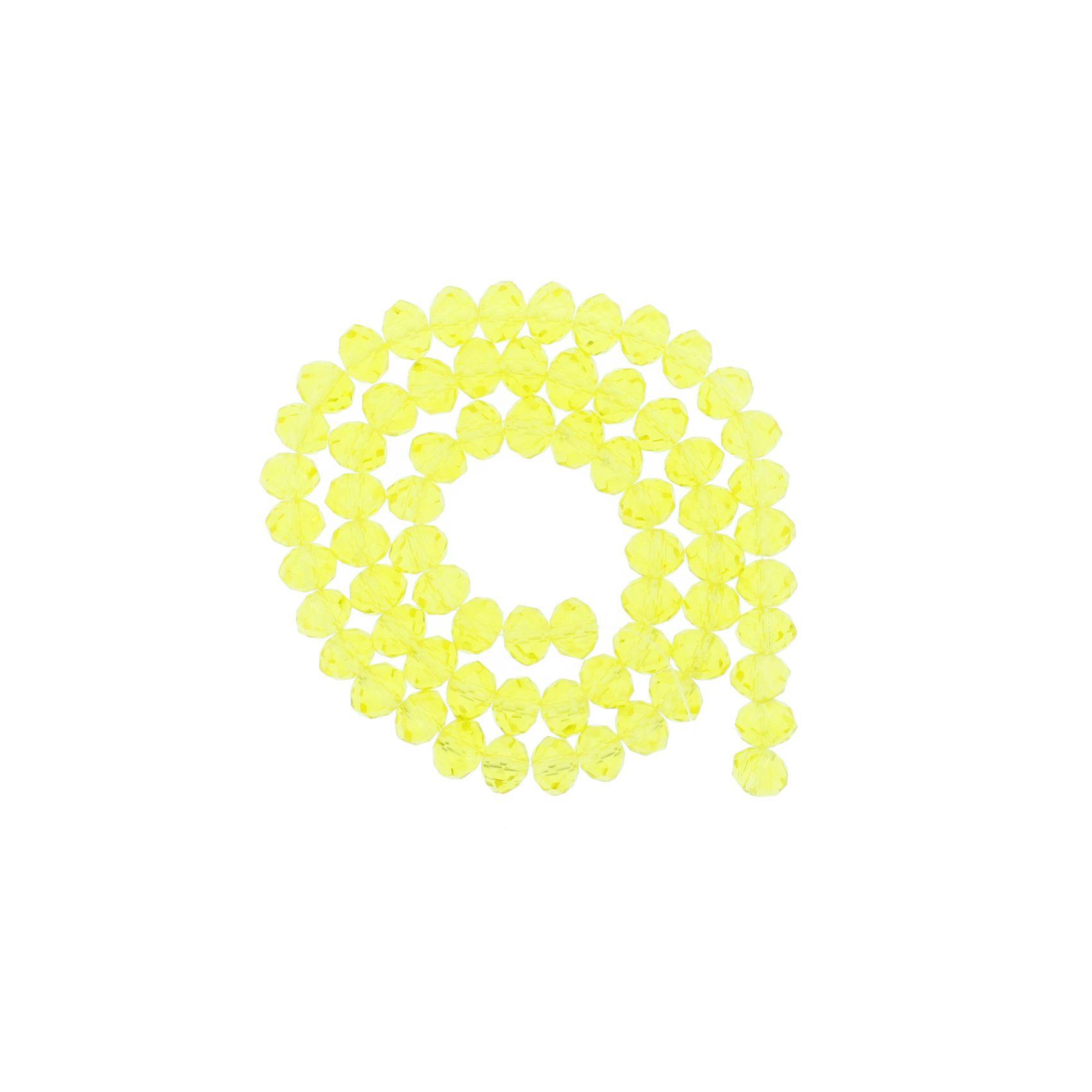 Fio de Cristal - Flat® - Amarelo Claro Transparente - 8mm  - Stéphanie Bijoux® - Peças para Bijuterias e Artesanato