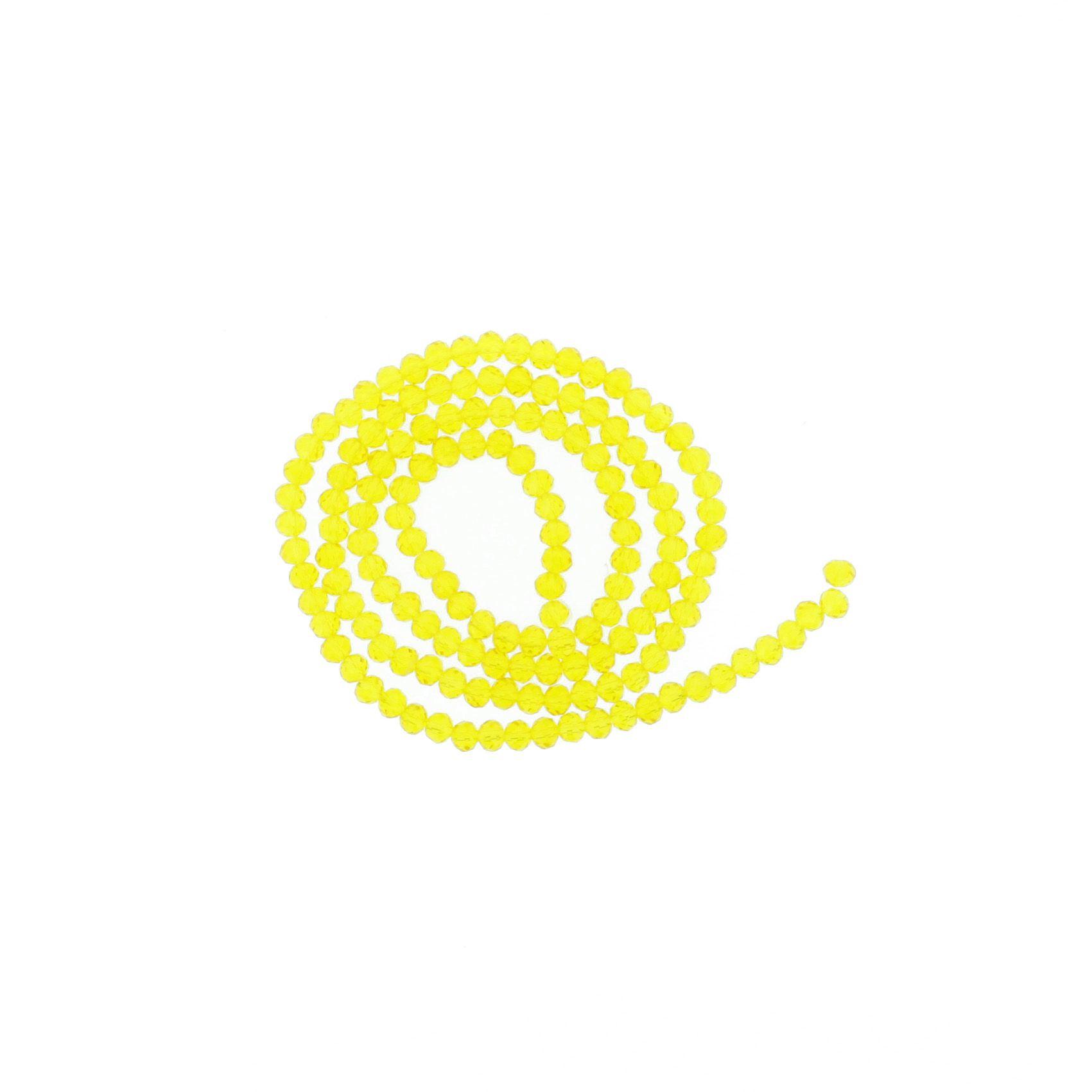 Fio de Cristal - Flat® - Amarelo Transparente - 4mm  - Stéphanie Bijoux® - Peças para Bijuterias e Artesanato
