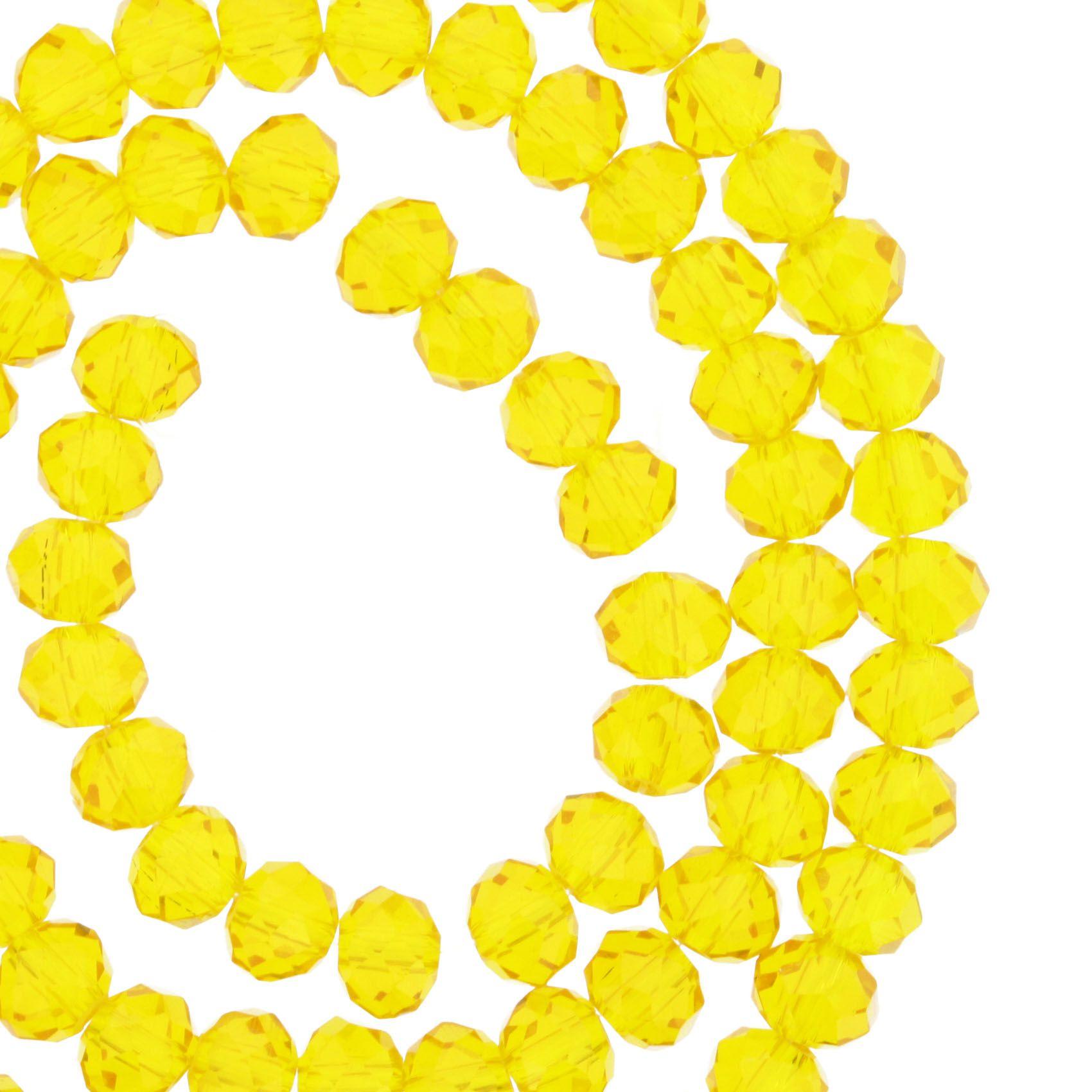Fio de Cristal - Flat® - Amarelo Transparente - 6mm  - Stéphanie Bijoux® - Peças para Bijuterias e Artesanato