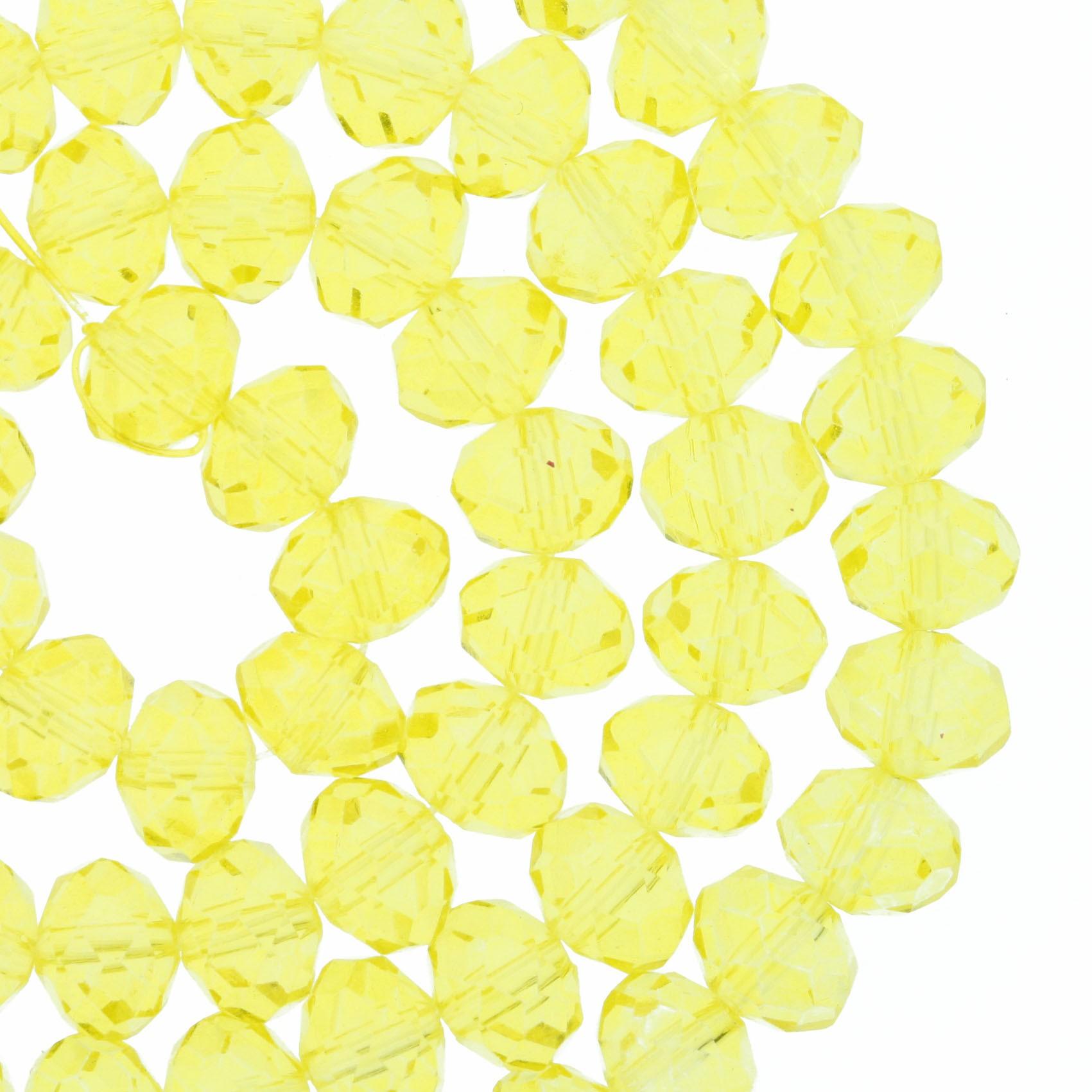 Fio de Cristal - Flat® - Amarelo Transparente - 8mm  - Stéphanie Bijoux® - Peças para Bijuterias e Artesanato