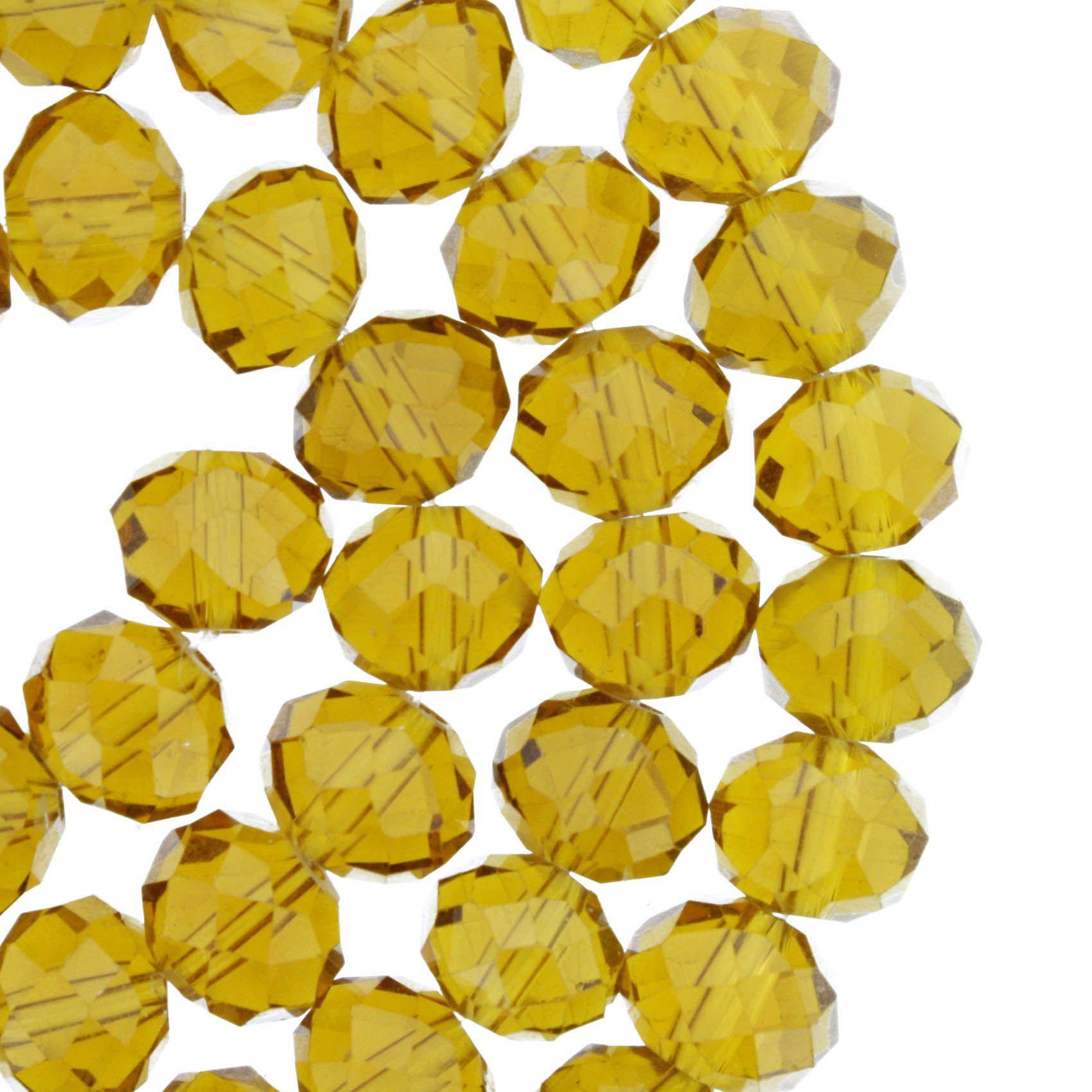 Fio de Cristal - Flat® - Âmbar - 10mm  - Stéphanie Bijoux® - Peças para Bijuterias e Artesanato