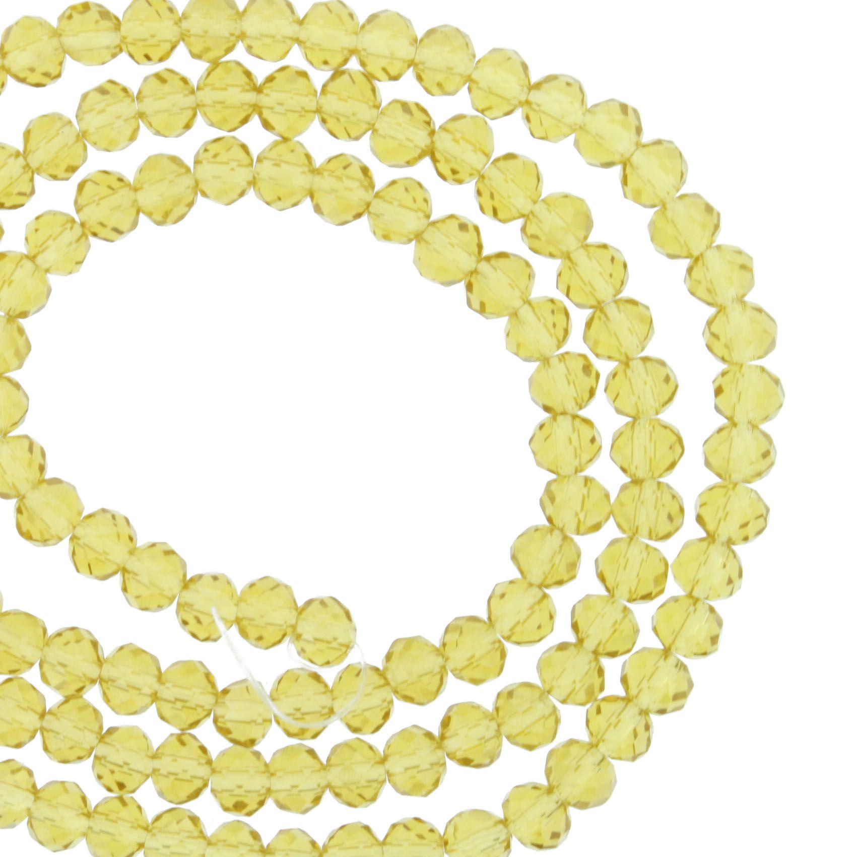 Fio de Cristal - Flat® - Âmbar Claro Transparente - 4mm  - Stéphanie Bijoux® - Peças para Bijuterias e Artesanato