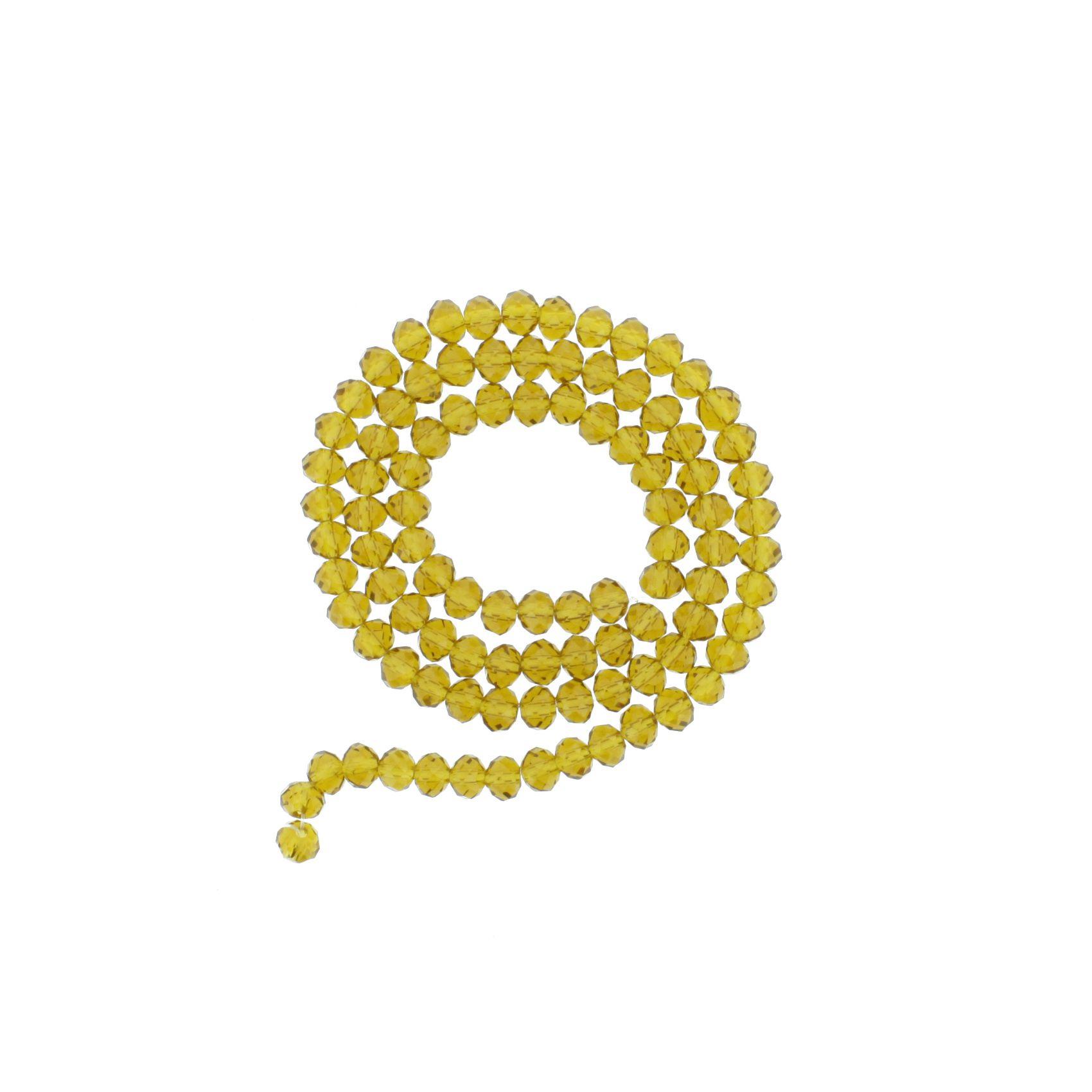 Fio de Cristal - Flat® - Âmbar Claro Transparente - 6mm  - Stéphanie Bijoux® - Peças para Bijuterias e Artesanato