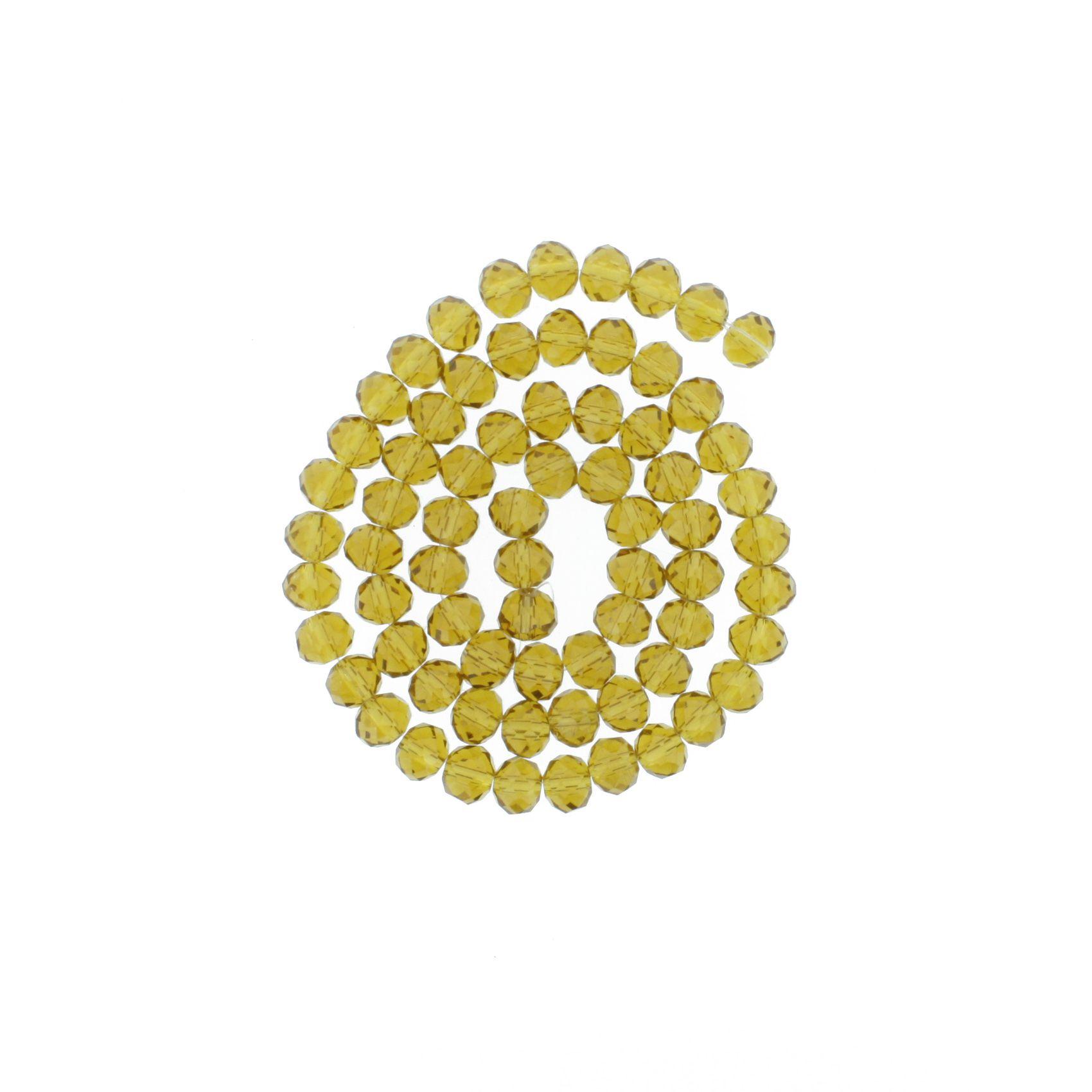 Fio de Cristal - Flat® - Ambar Claro Transparente - 8mm  - Stéphanie Bijoux® - Peças para Bijuterias e Artesanato