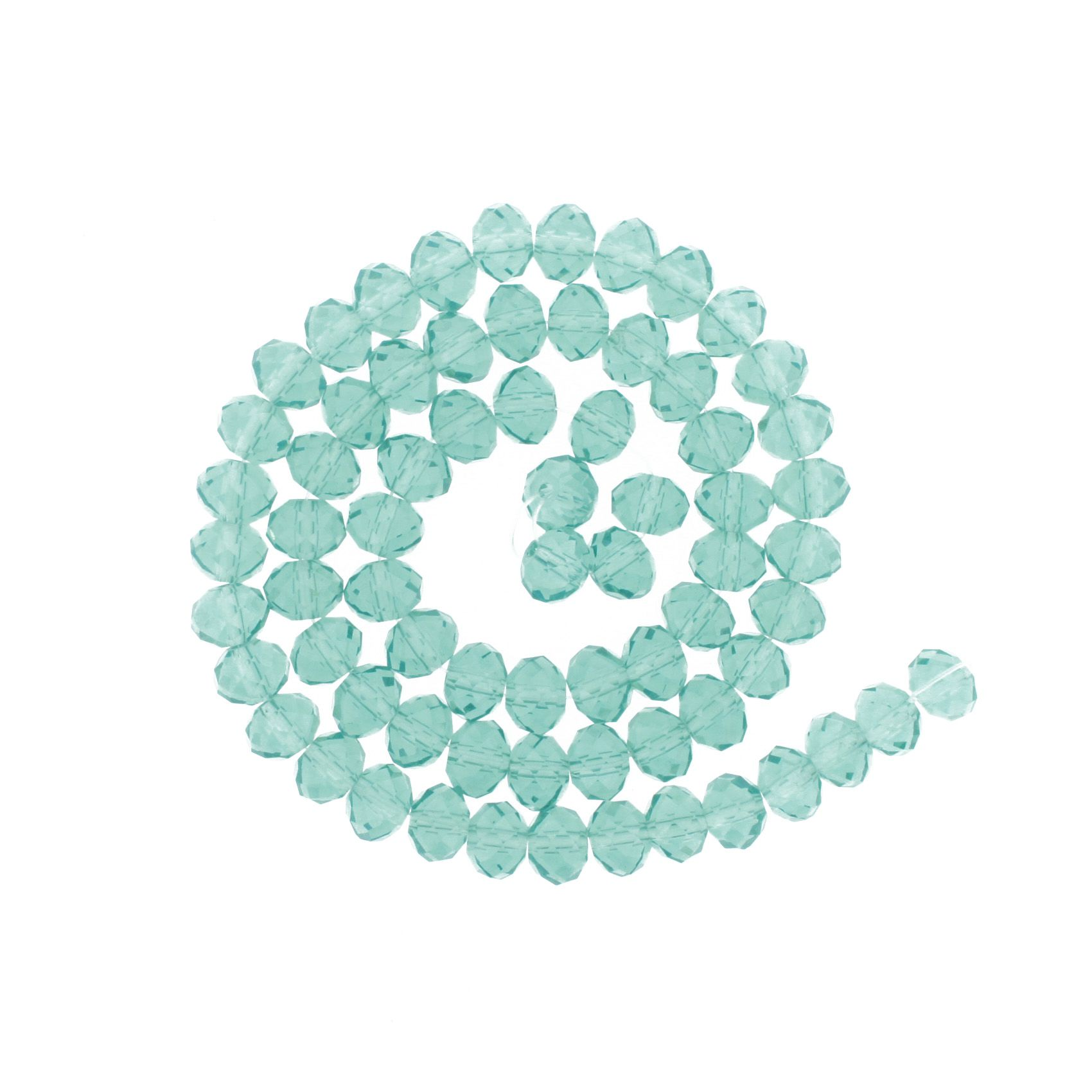 Fio de Cristal - Flat® - Aquamarine - 8mm  - Stéphanie Bijoux® - Peças para Bijuterias e Artesanato