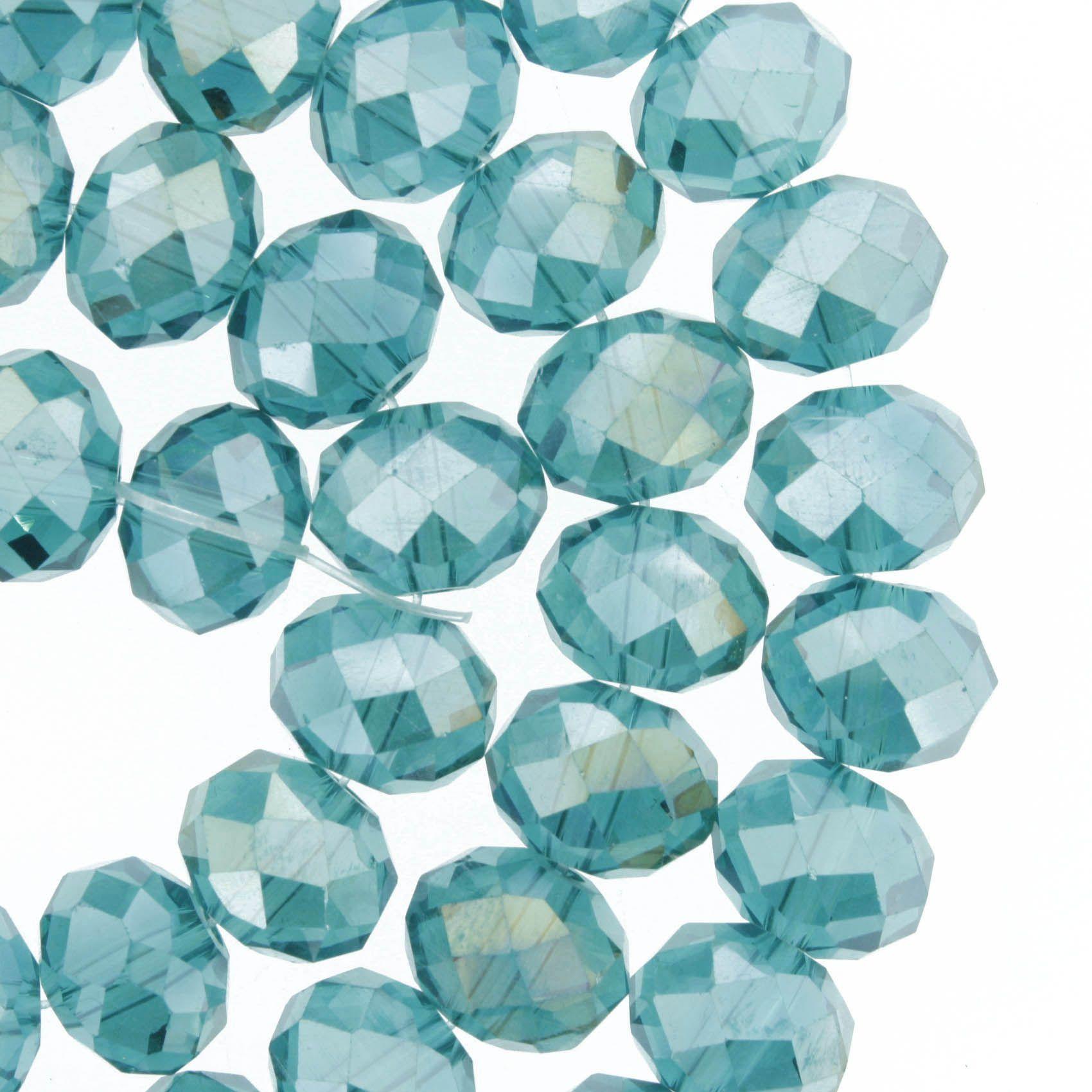 Fio de Cristal - Flat® - Aquamarine Irizado - 10mm  - Stéphanie Bijoux® - Peças para Bijuterias e Artesanato