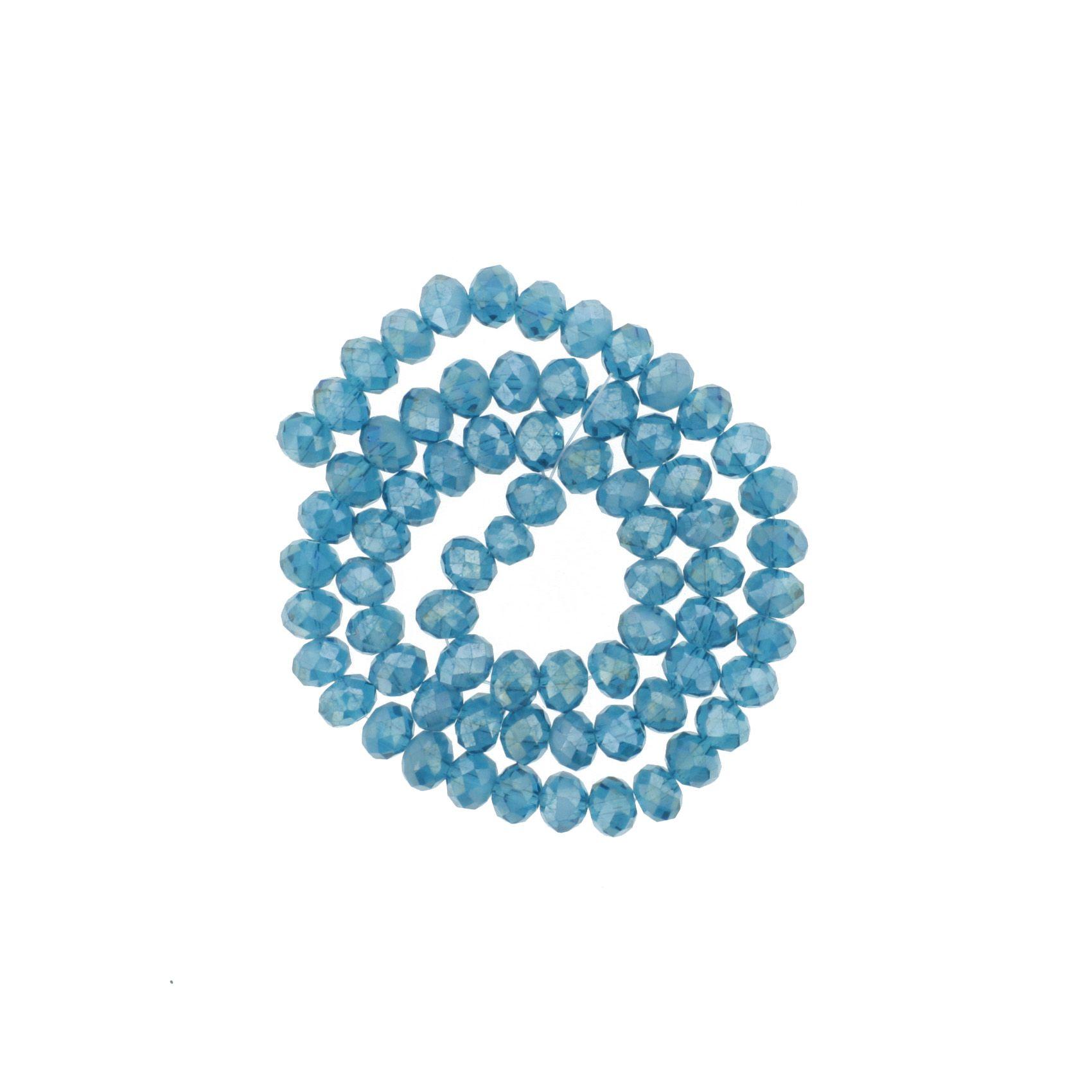 Fio de Cristal - Flat® - Aquamarine Irizado - 8mm  - Stéphanie Bijoux® - Peças para Bijuterias e Artesanato