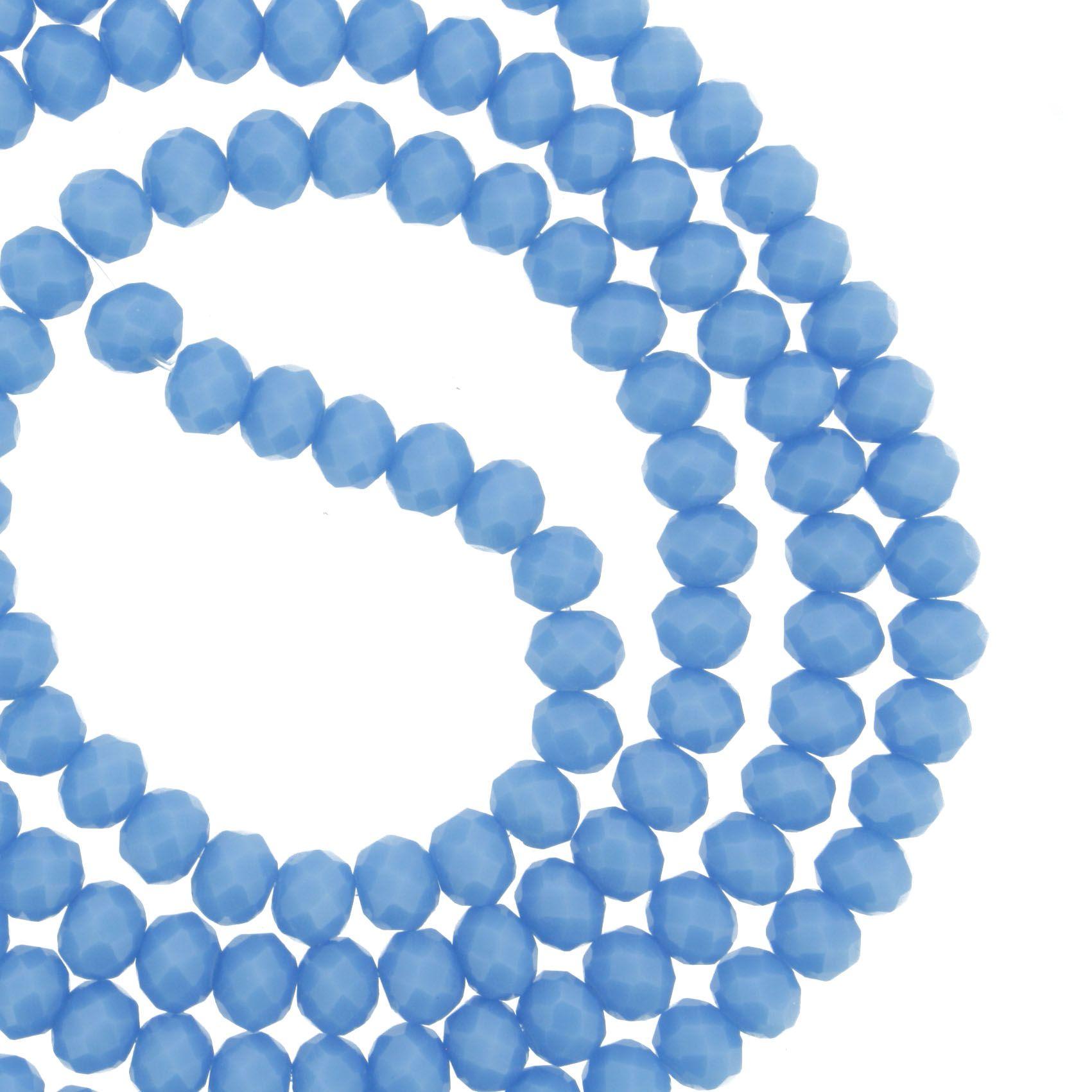 Fio de Cristal - Flat® - Azul Claro - 4mm  - Stéphanie Bijoux® - Peças para Bijuterias e Artesanato