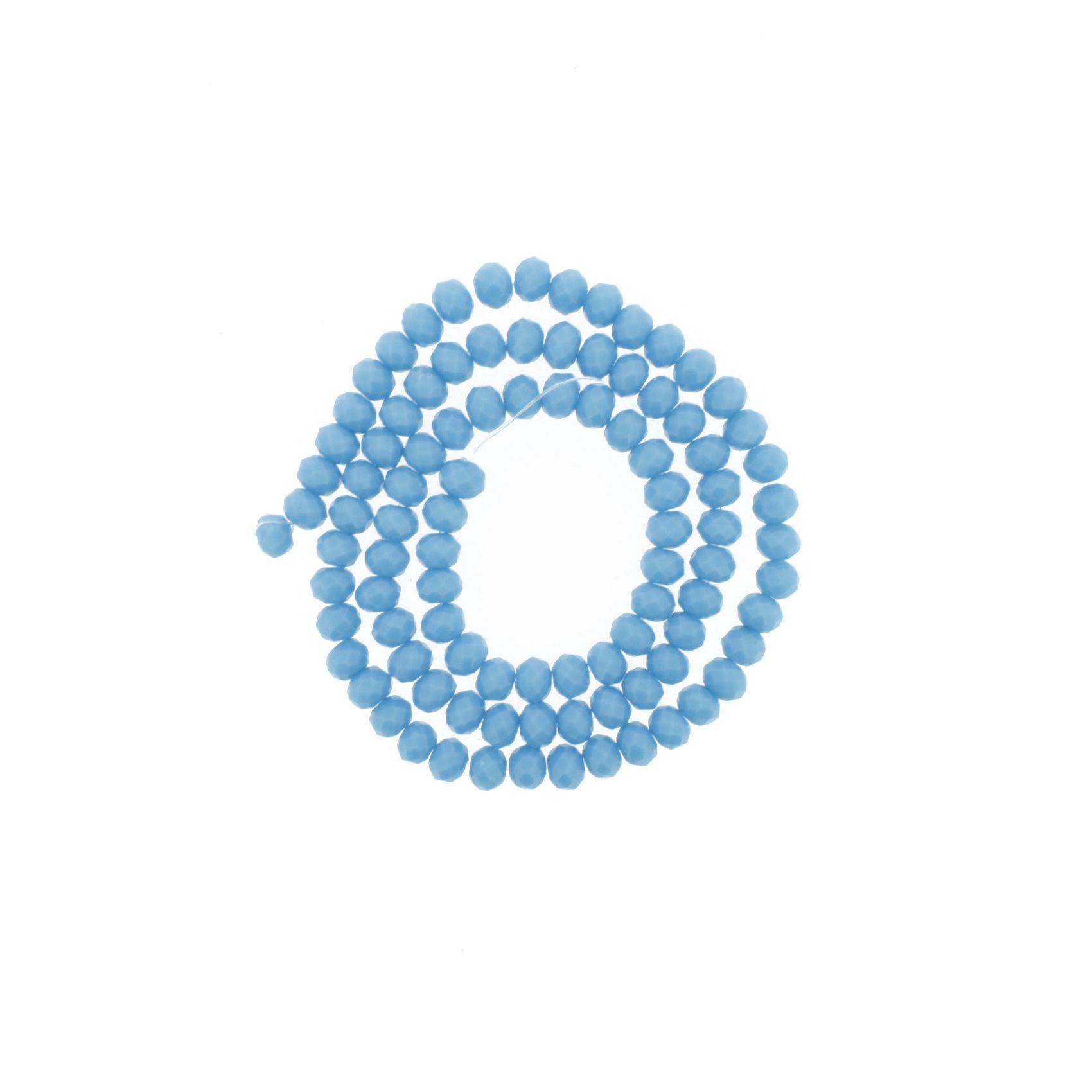 Fio de Cristal - Flat® - Azul Claro - 6mm  - Stéphanie Bijoux® - Peças para Bijuterias e Artesanato
