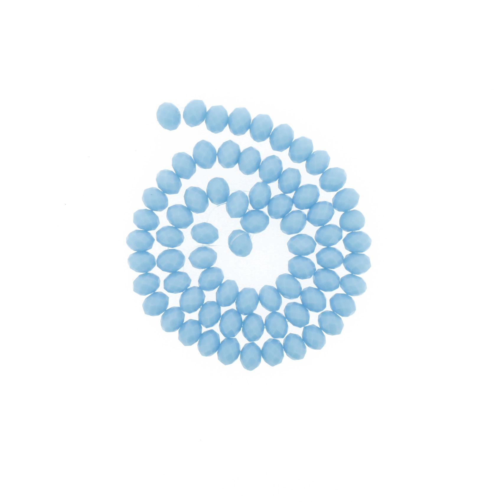 Fio de Cristal - Flat® - Azul Claro - 8mm  - Stéphanie Bijoux® - Peças para Bijuterias e Artesanato