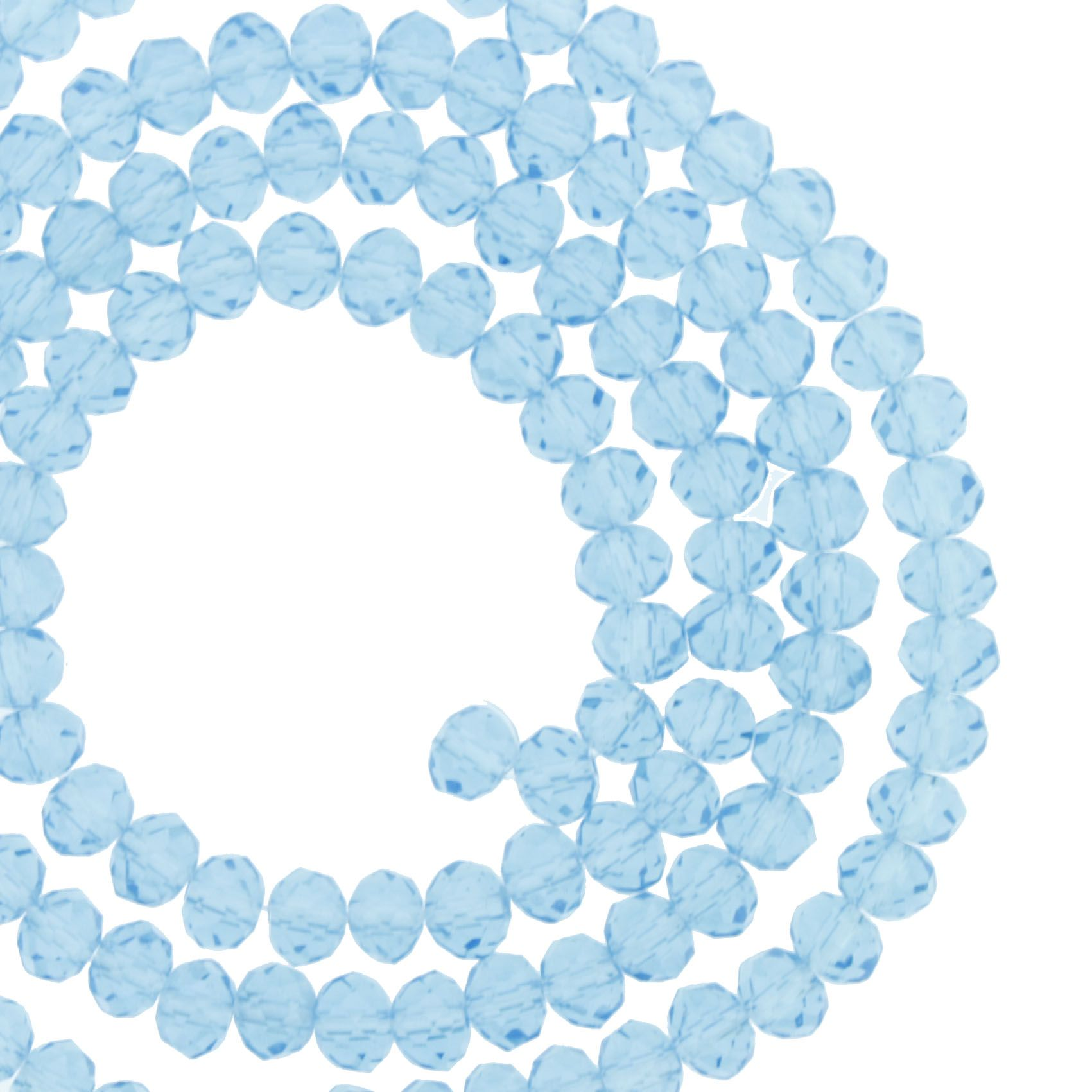 Fio de Cristal - Flat® - Azul Claro Transparente - 4mm  - Stéphanie Bijoux® - Peças para Bijuterias e Artesanato