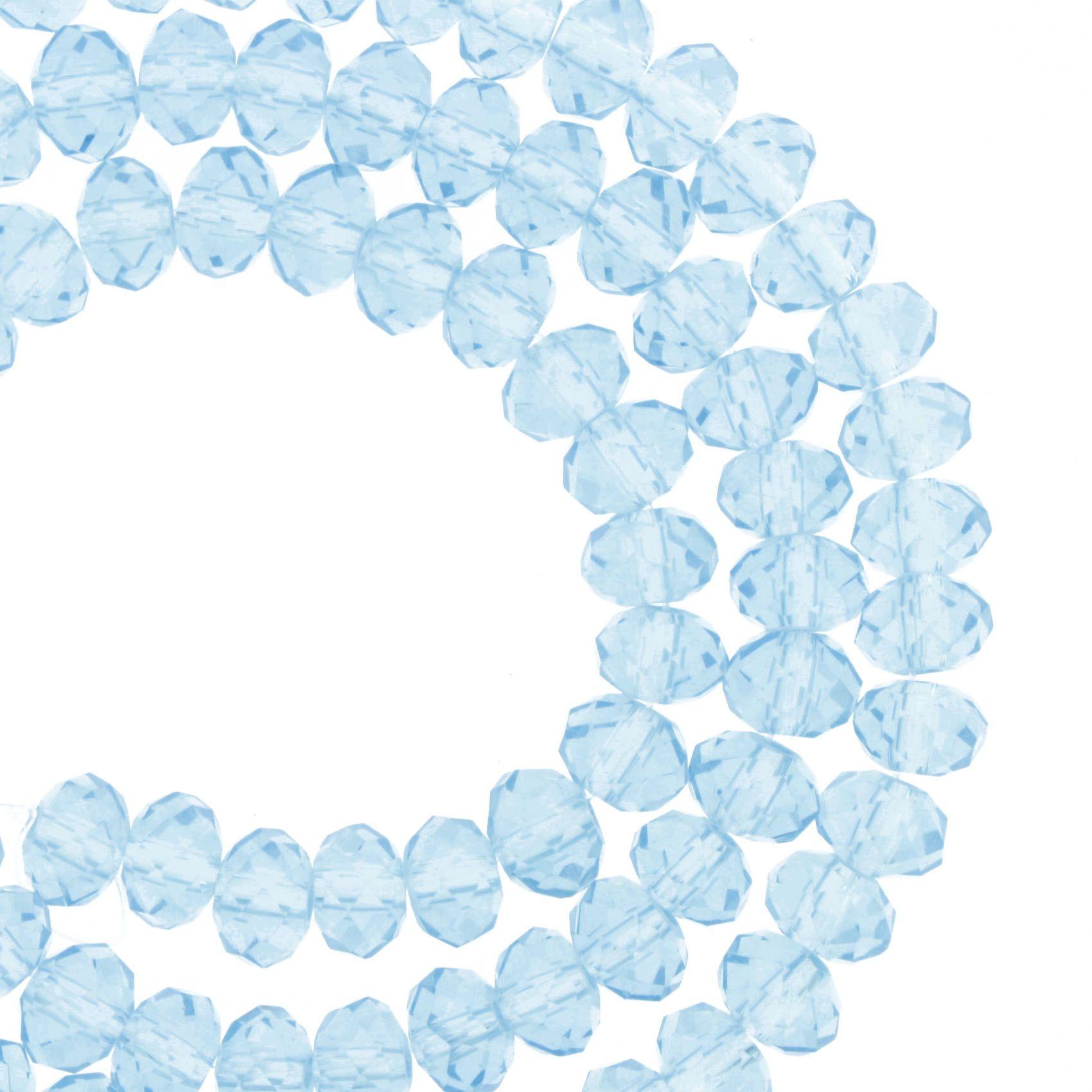 Fio de Cristal - Flat® - Azul Claro Transparente - 6mm  - Stéphanie Bijoux® - Peças para Bijuterias e Artesanato