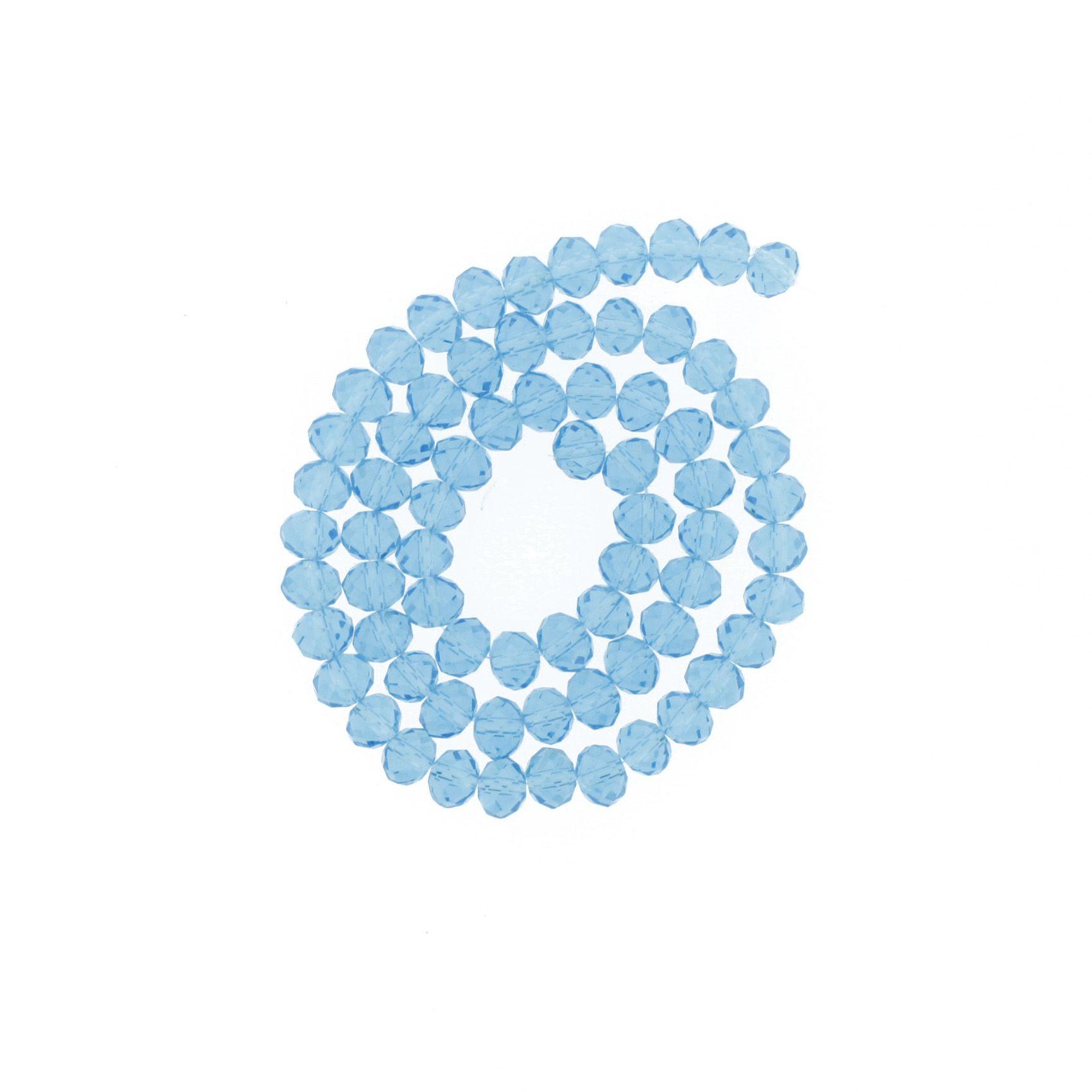 Fio de Cristal - Flat® - Azul Claro Transparente - 8mm  - Stéphanie Bijoux® - Peças para Bijuterias e Artesanato