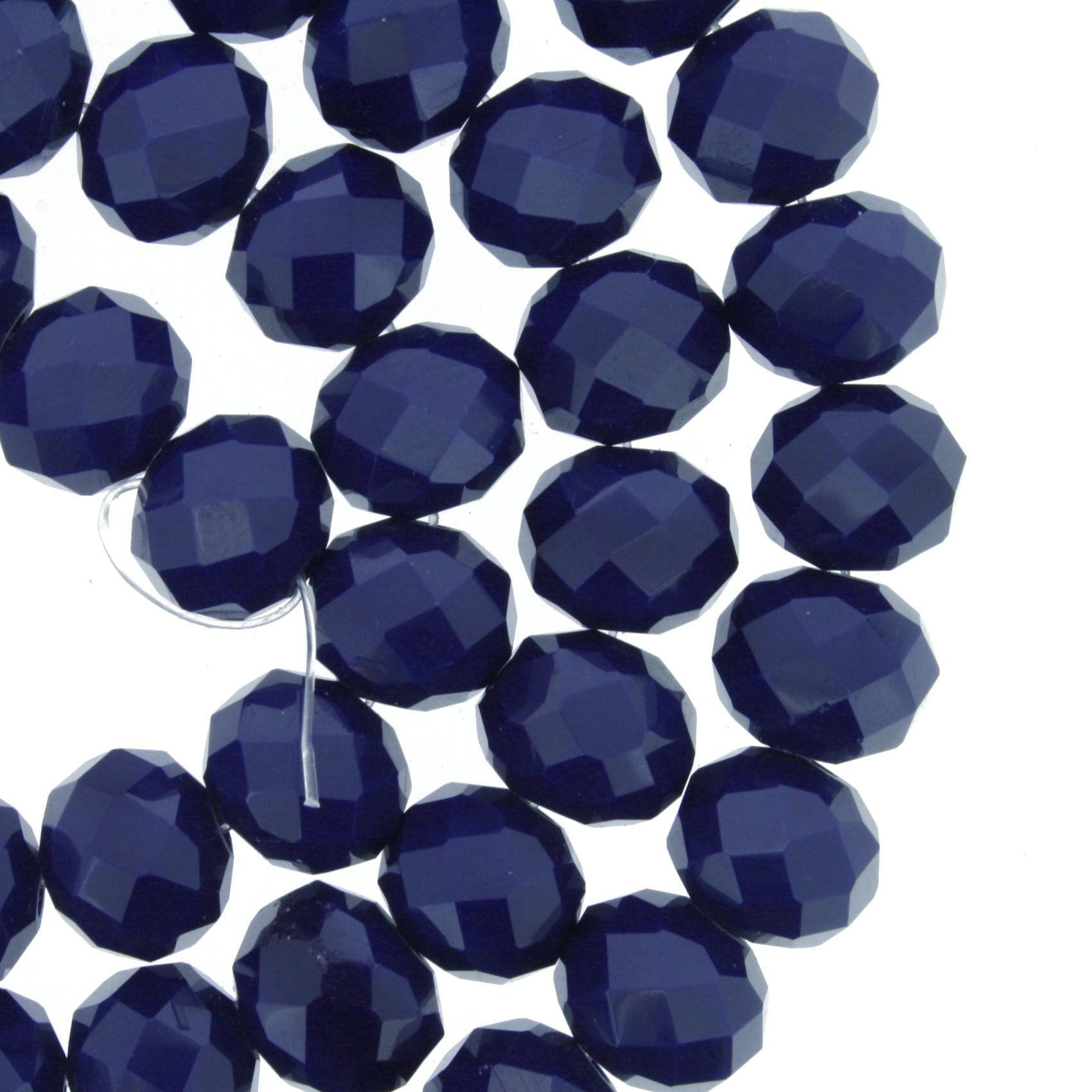 Fio de Cristal - Flat® - Azul Marinho - 10mm  - Stéphanie Bijoux® - Peças para Bijuterias e Artesanato