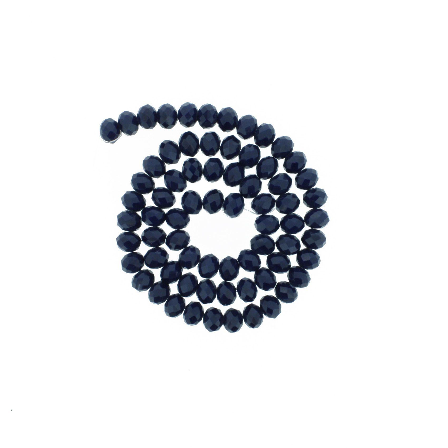 Fio de Cristal - Flat® - Azul Marinho - 8mm  - Stéphanie Bijoux® - Peças para Bijuterias e Artesanato