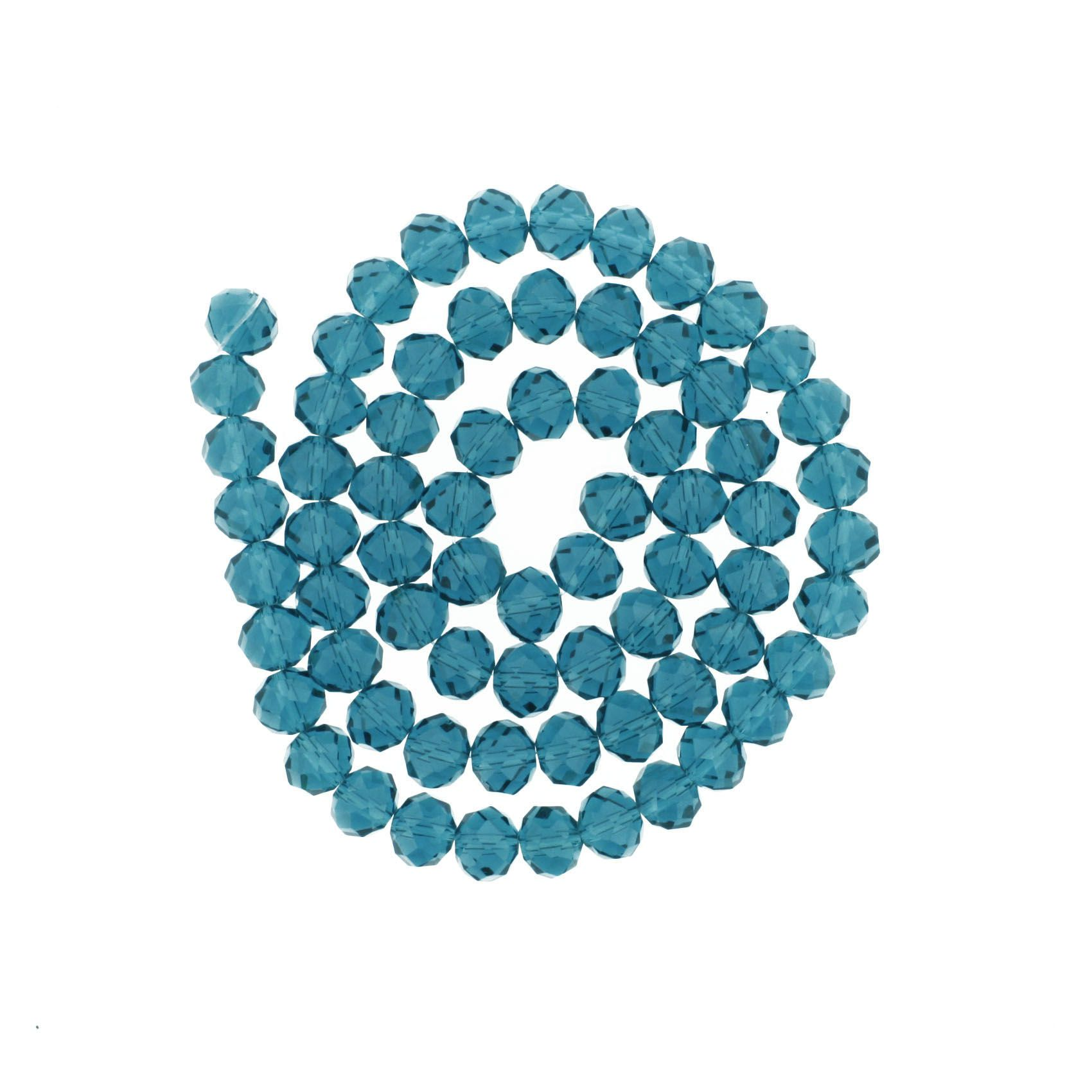Fio de Cristal - Flat® - Azul Petróleo - 10mm  - Stéphanie Bijoux® - Peças para Bijuterias e Artesanato