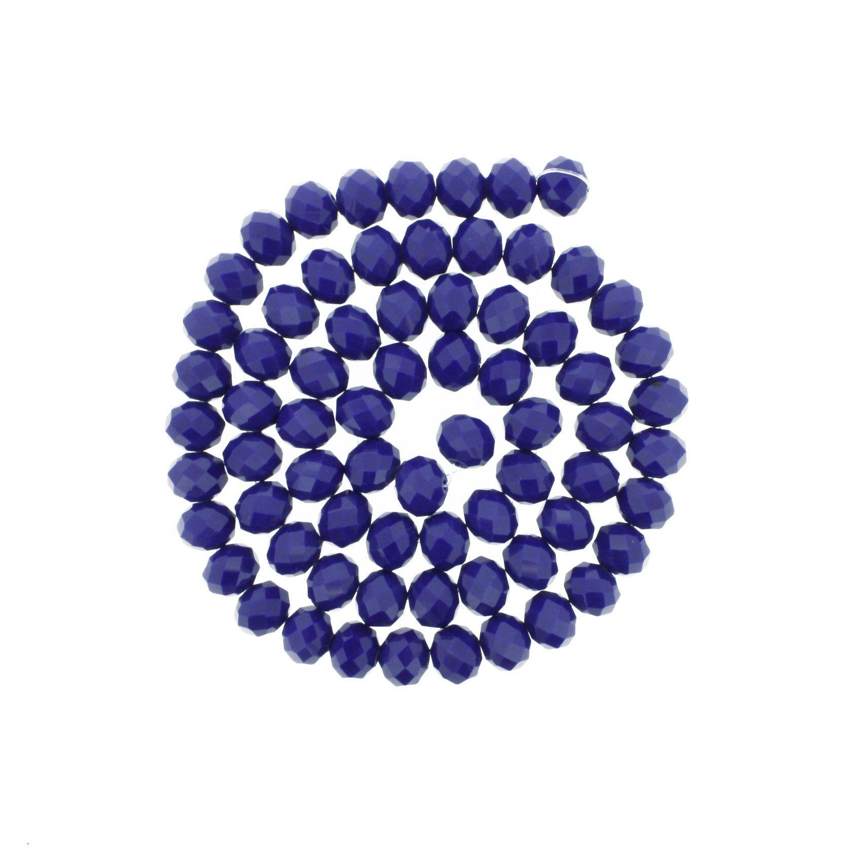 Fio de Cristal - Flat® - Azul Royal - 10mm  - Stéphanie Bijoux® - Peças para Bijuterias e Artesanato