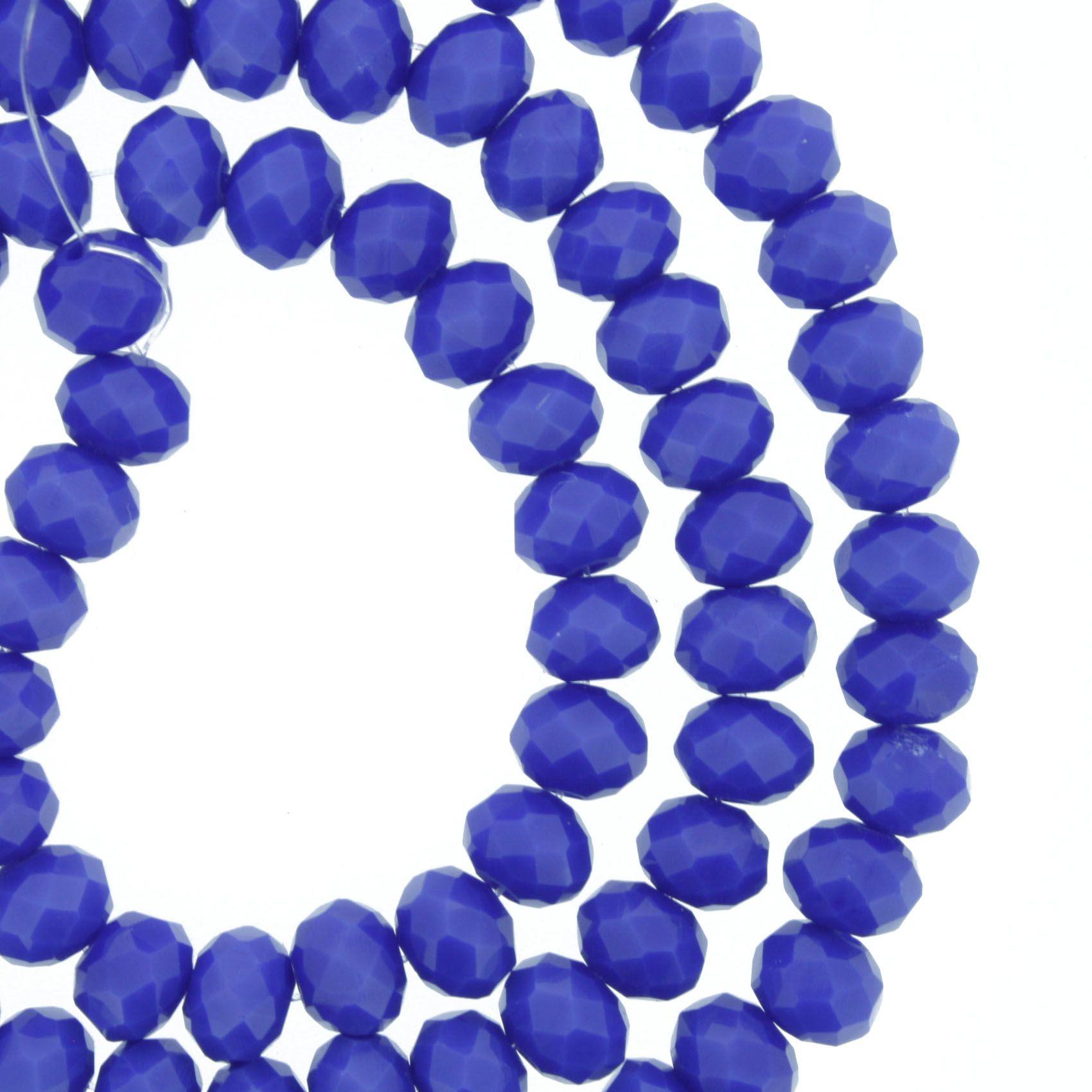 Fio de Cristal - Flat® - Azul Royal - 6mm  - Stéphanie Bijoux® - Peças para Bijuterias e Artesanato